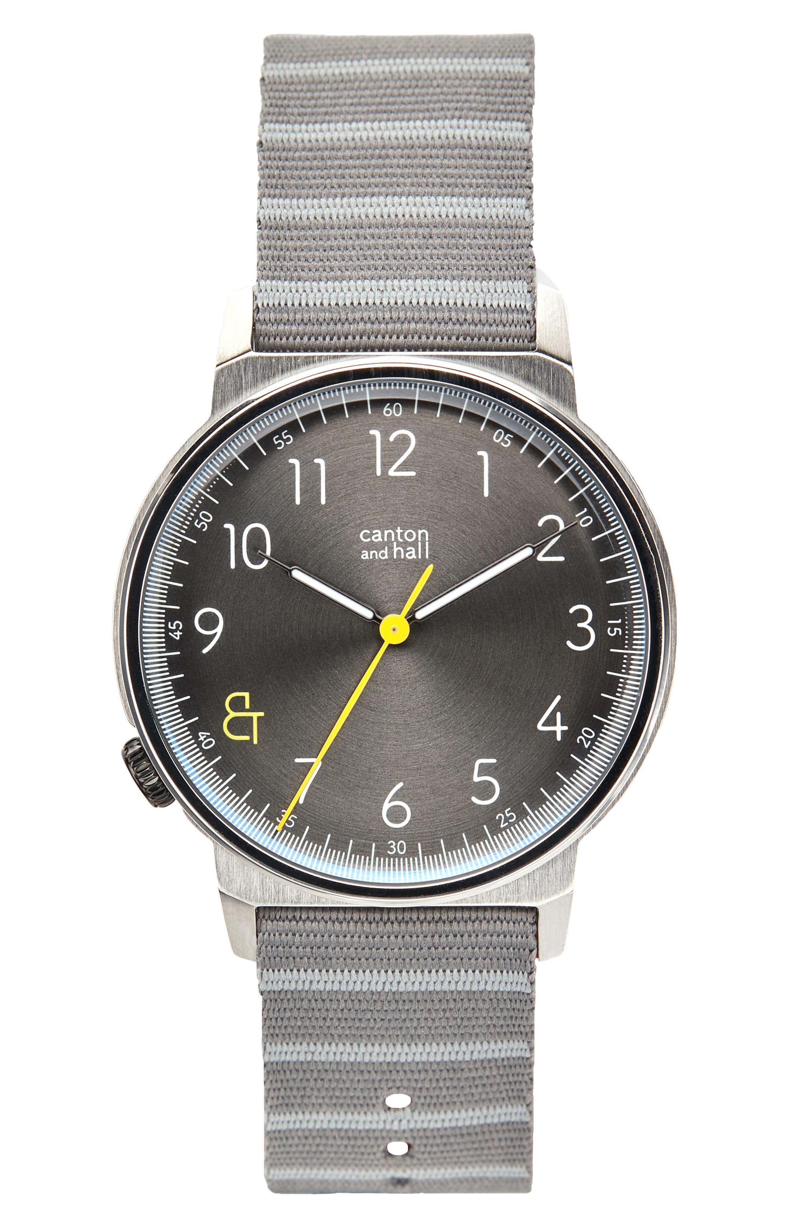 Davis Slim Nylon Strap Watch, 40mm,                             Main thumbnail 1, color,                             Grey/ Grey