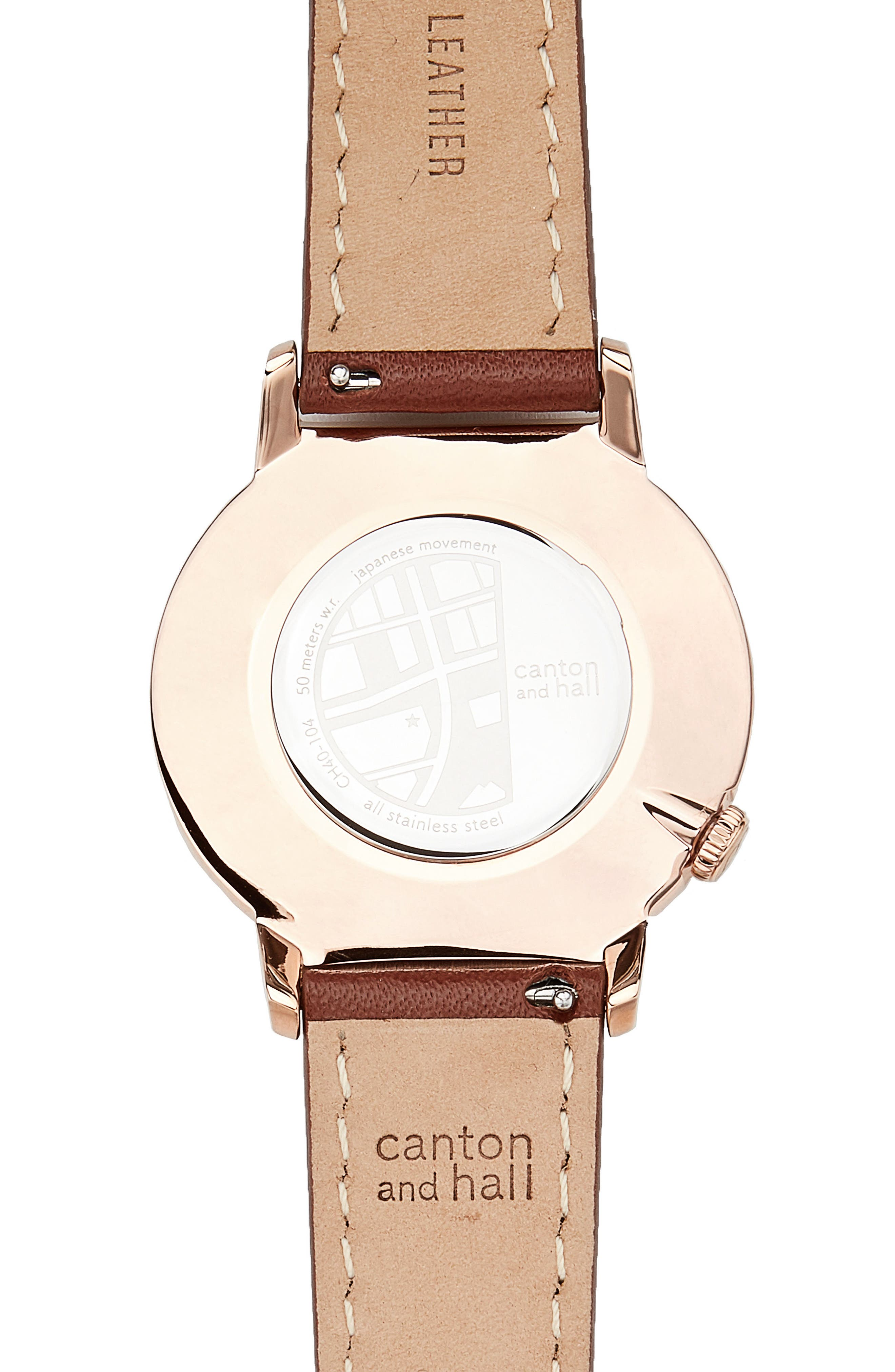 Alternate Image 2  - Canton and Hall Davis Slim Leather Strap Watch, 40mm