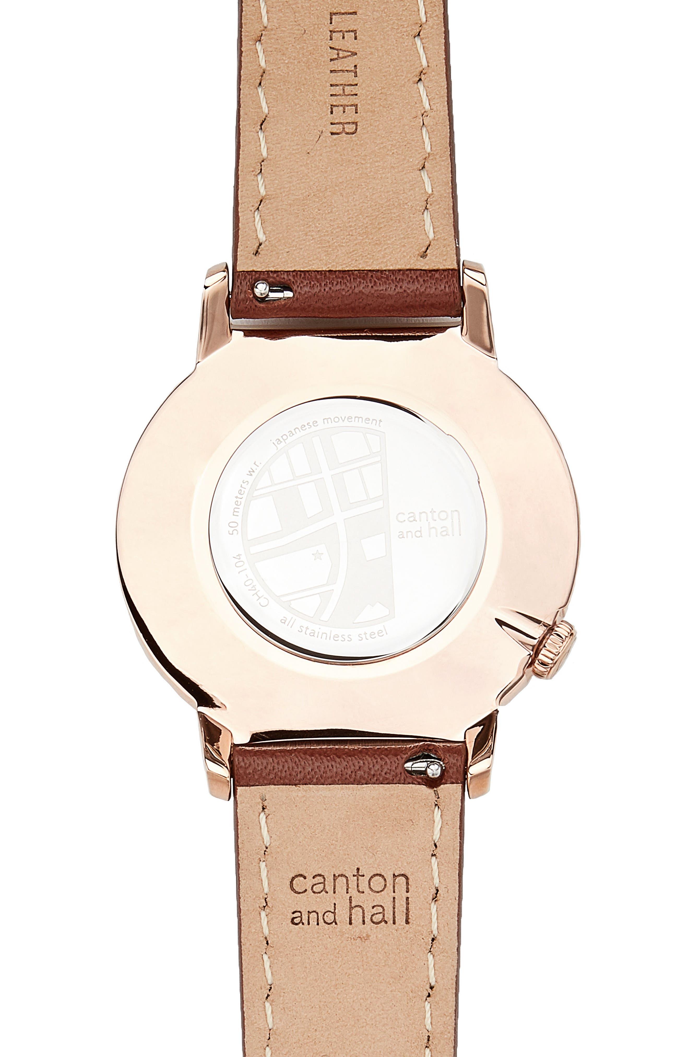 Davis Slim Leather Strap Watch, 40mm,                             Alternate thumbnail 2, color,                             Navy/ Brown