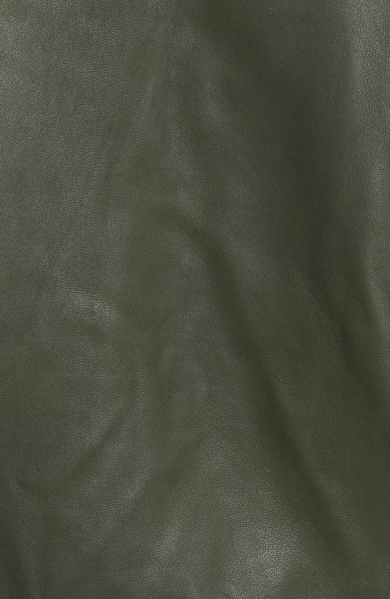 Jayne Orion Lambskin Leather Moto Jacket,                             Alternate thumbnail 5, color,                             Green