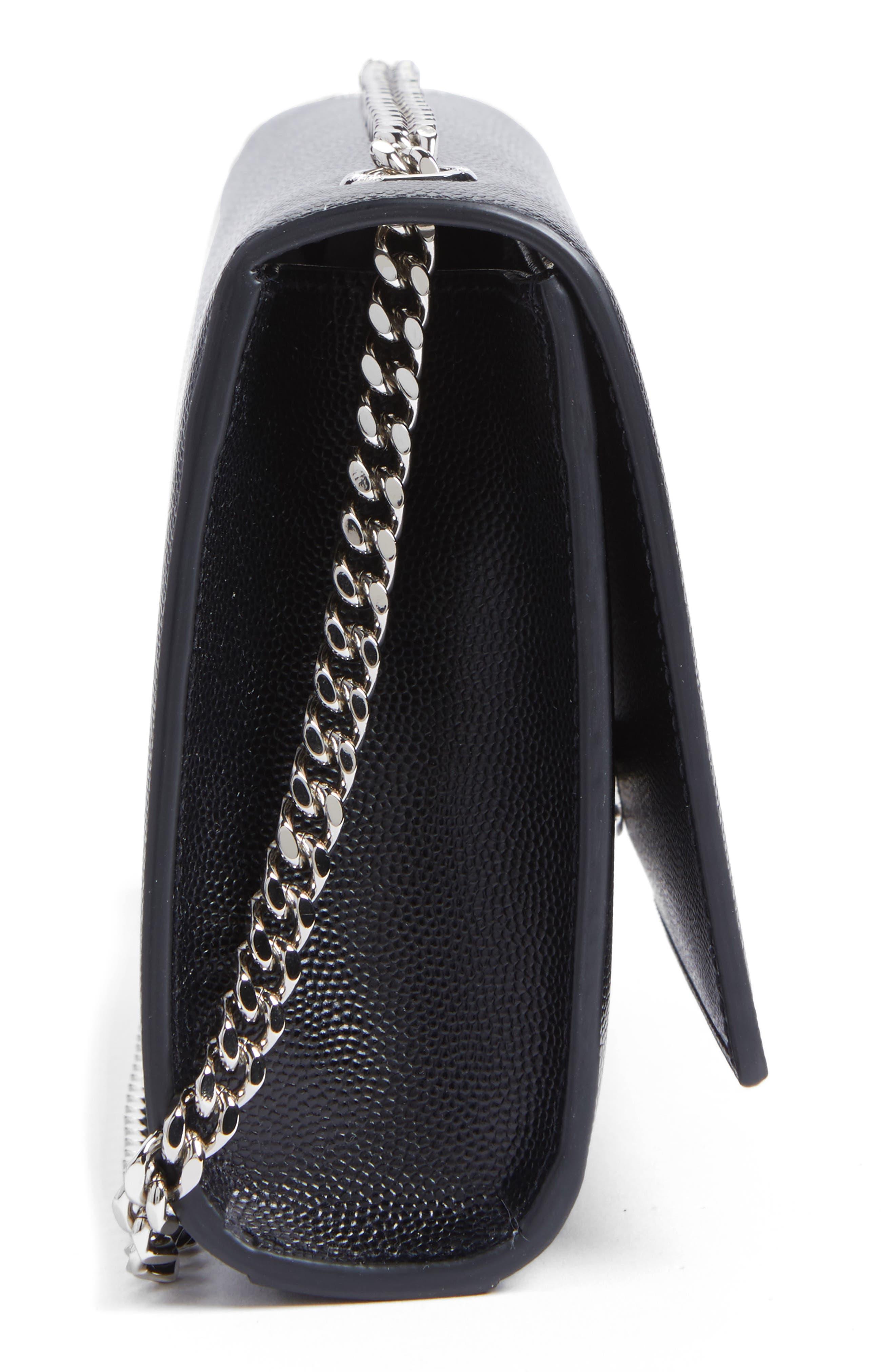 Small Kate Grained Leather Crossbody Bag,                             Alternate thumbnail 5, color,                             Noir