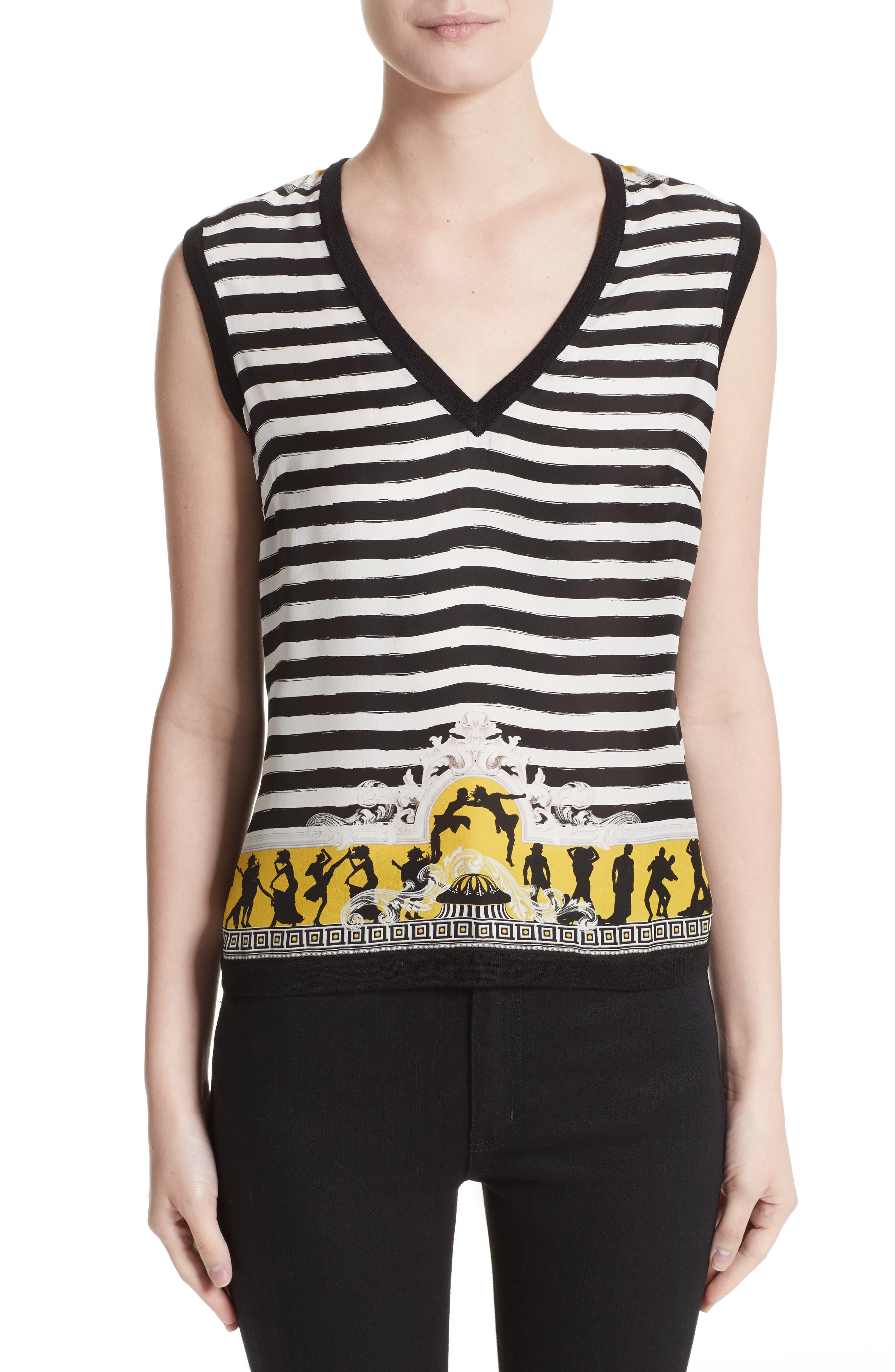Versace Collection Catwalk Print Wool & Silk Shell