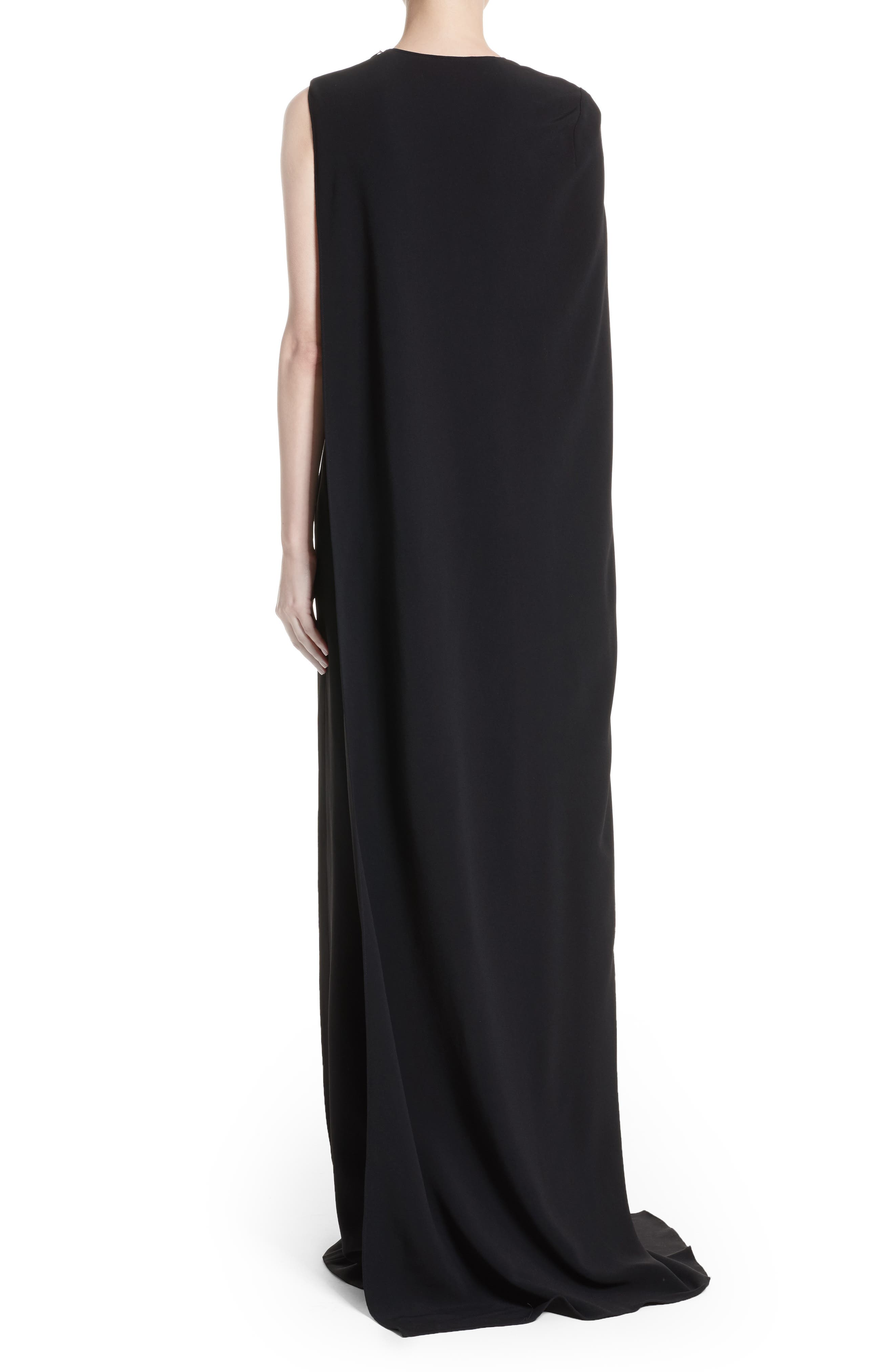 Stretch Cady One-Shoulder Cape Gown,                             Alternate thumbnail 2, color,                             Black