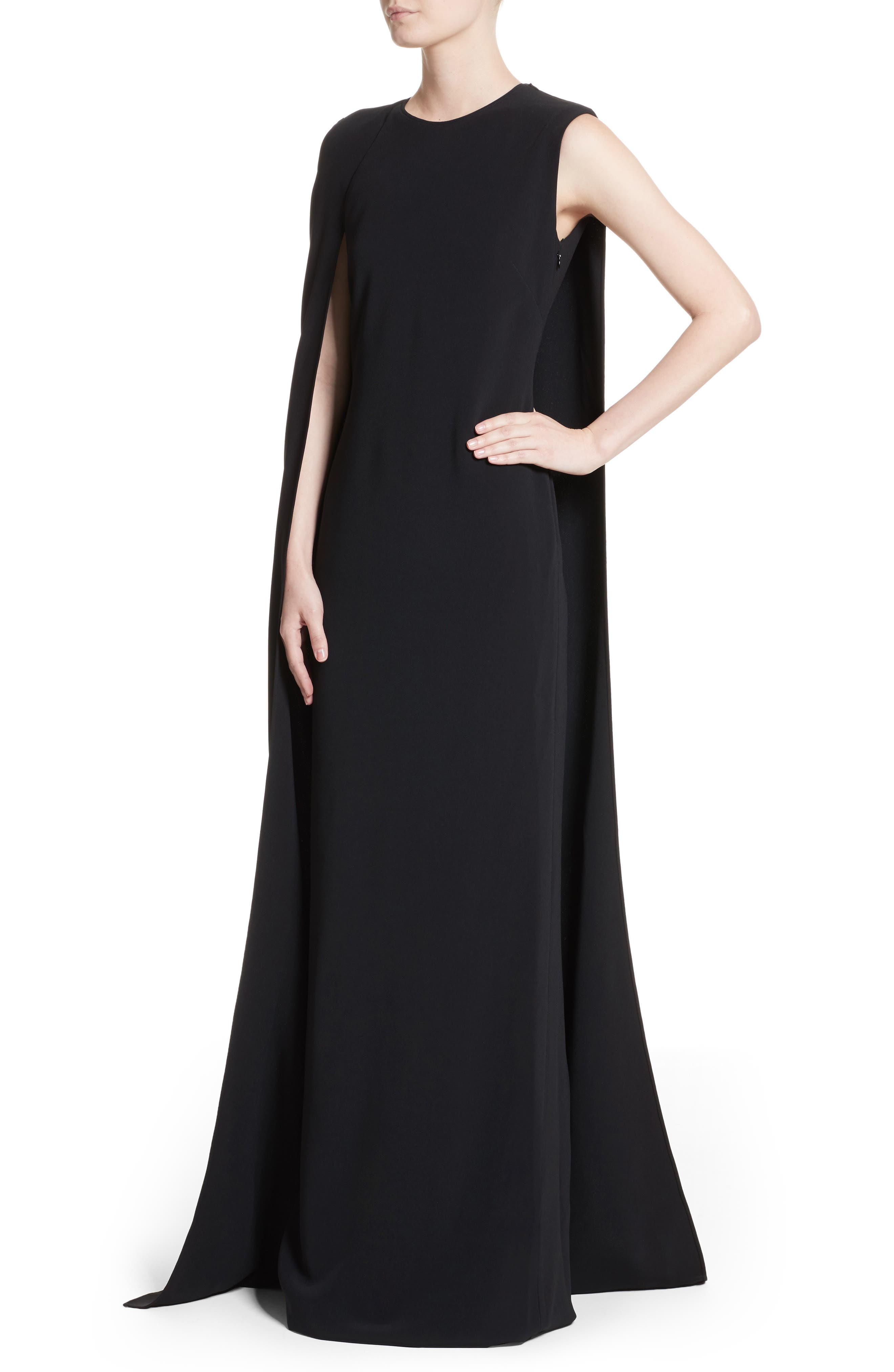 Stretch Cady One-Shoulder Cape Gown,                             Alternate thumbnail 6, color,                             Black
