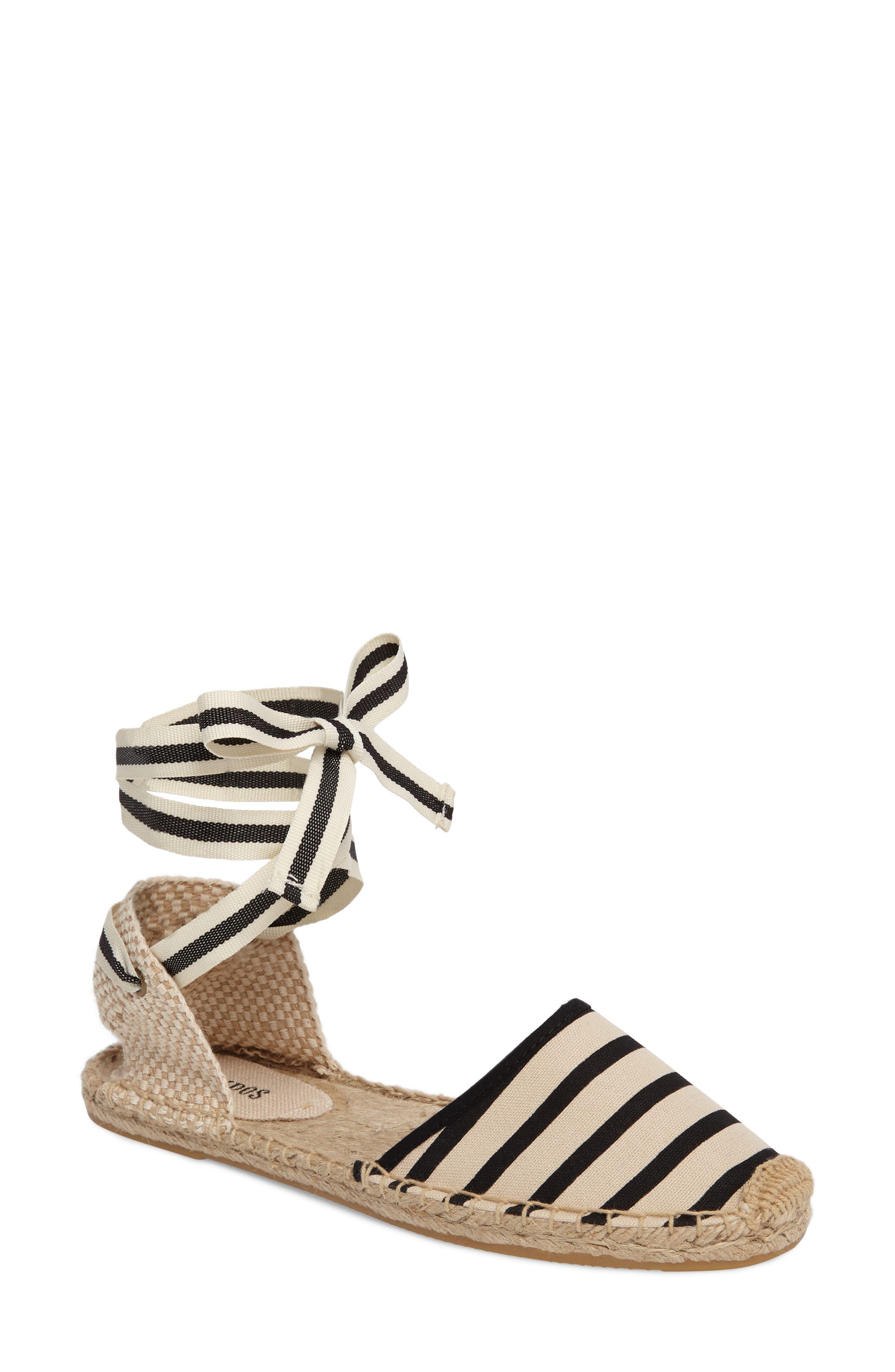 Lace-Up Espadrille Sandal,                         Main,                         color, New Natural/ Black Stripe