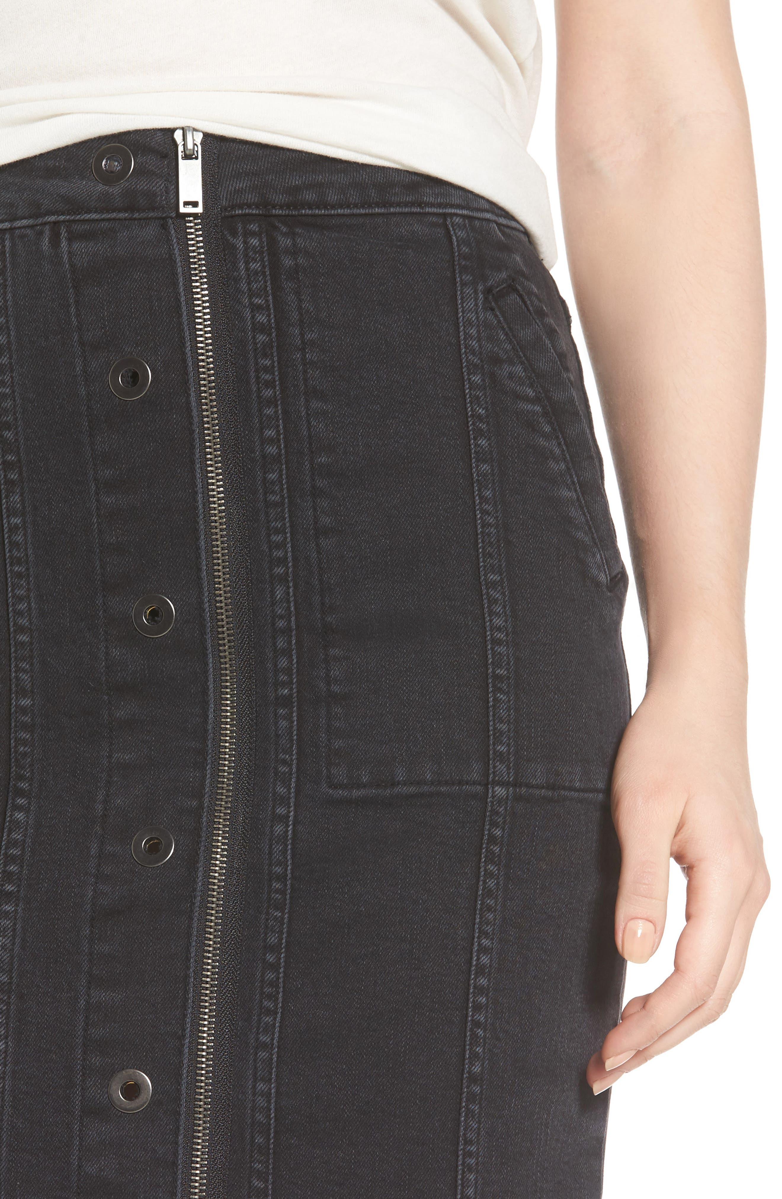 Poppy Denim Miniskirt,                             Alternate thumbnail 4, color,                             Quinn