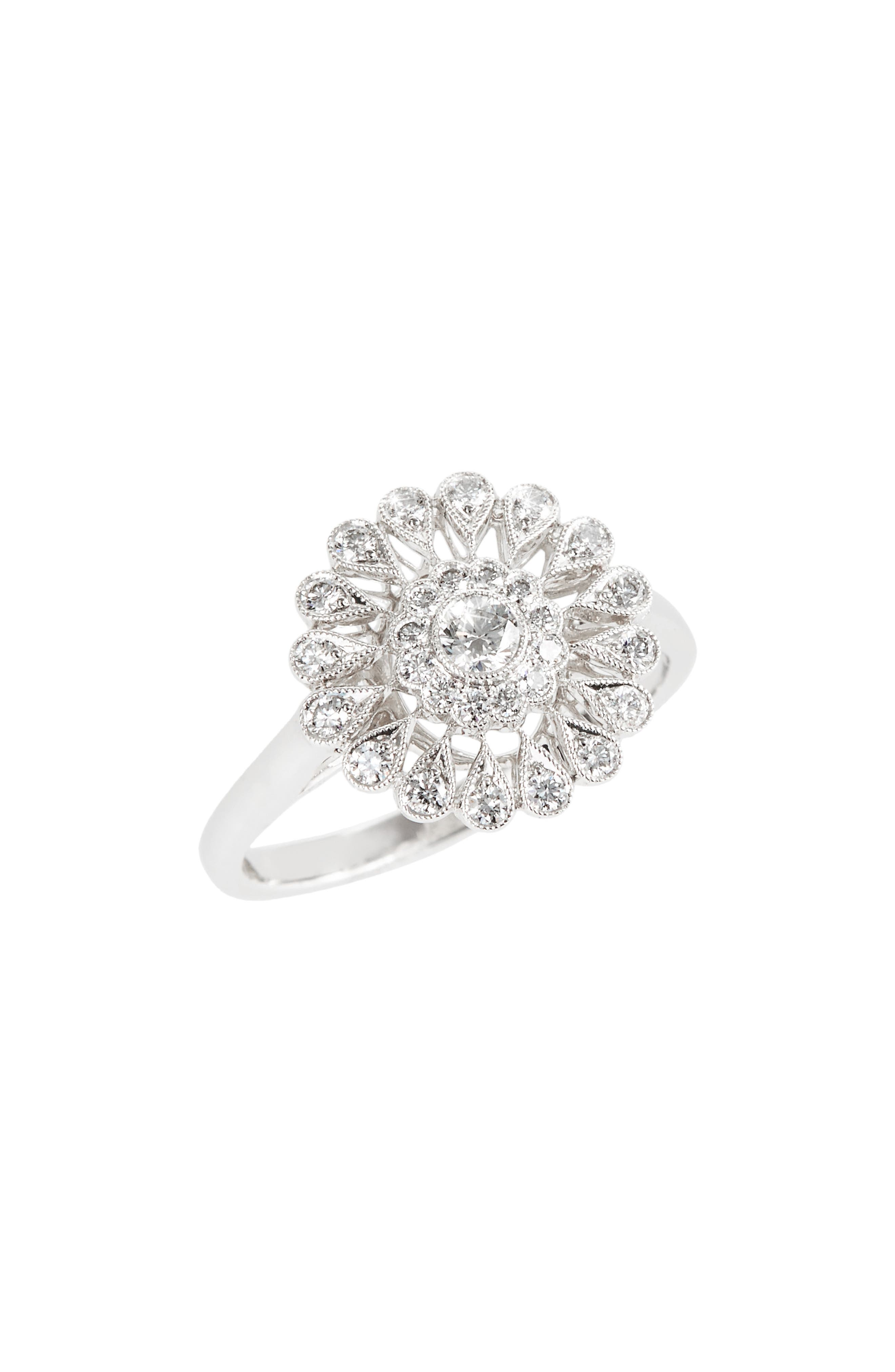 Vintage Flower Diamond Ring,                             Main thumbnail 1, color,                             White Gold