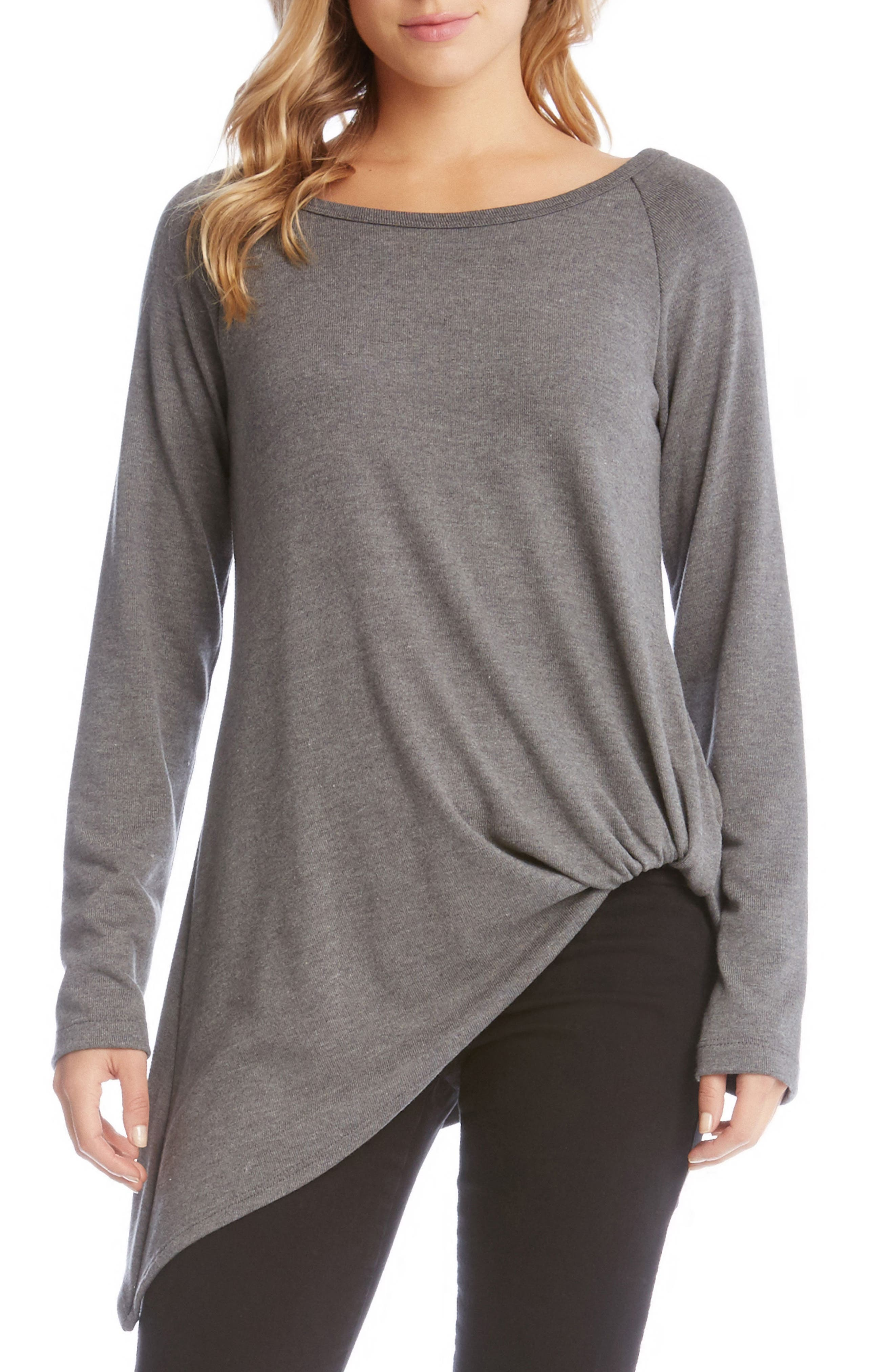 Pick Up Hem Sweater Knit Tunic Top,                         Main,                         color, Dark Heather Grey