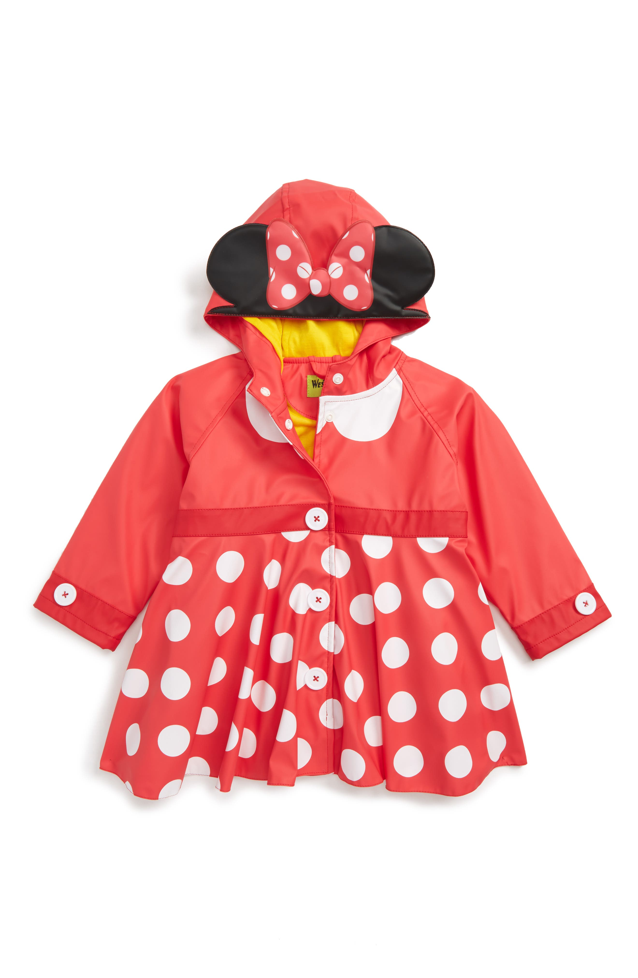 Minnie Mouse<sup>™</sup> Raincoat,                         Main,                         color, Red