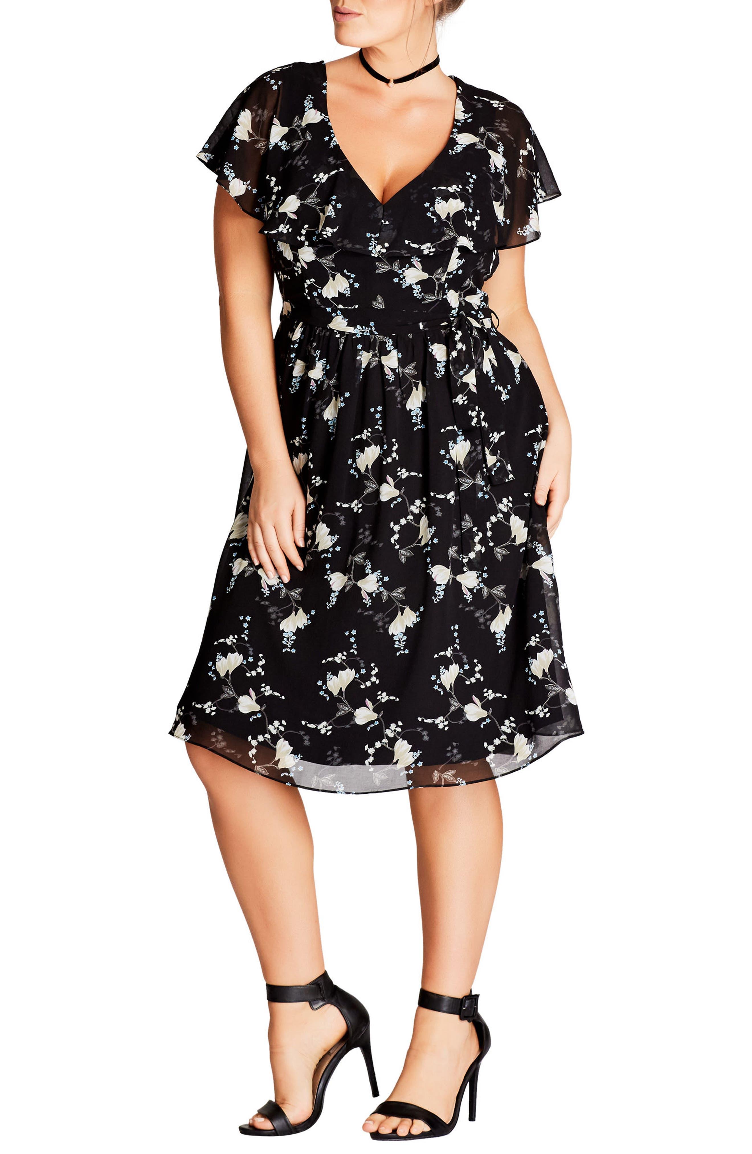 Main Image - City Chic Climbing Blossom Dress (Plus Size)