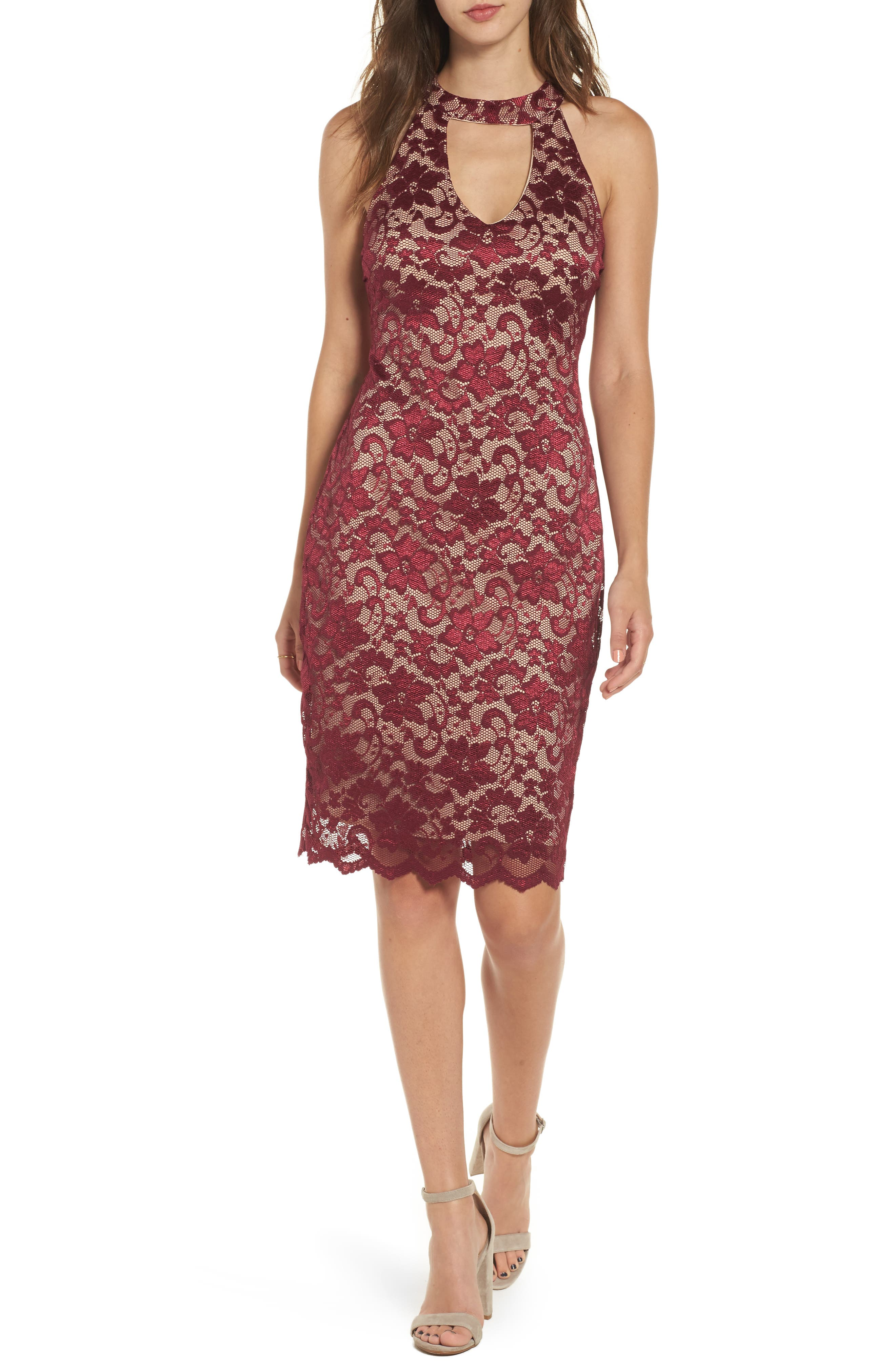 Love Nickie Lew Lace Choker Body Con Dress,                             Main thumbnail 1, color,                             Wine/ Nude