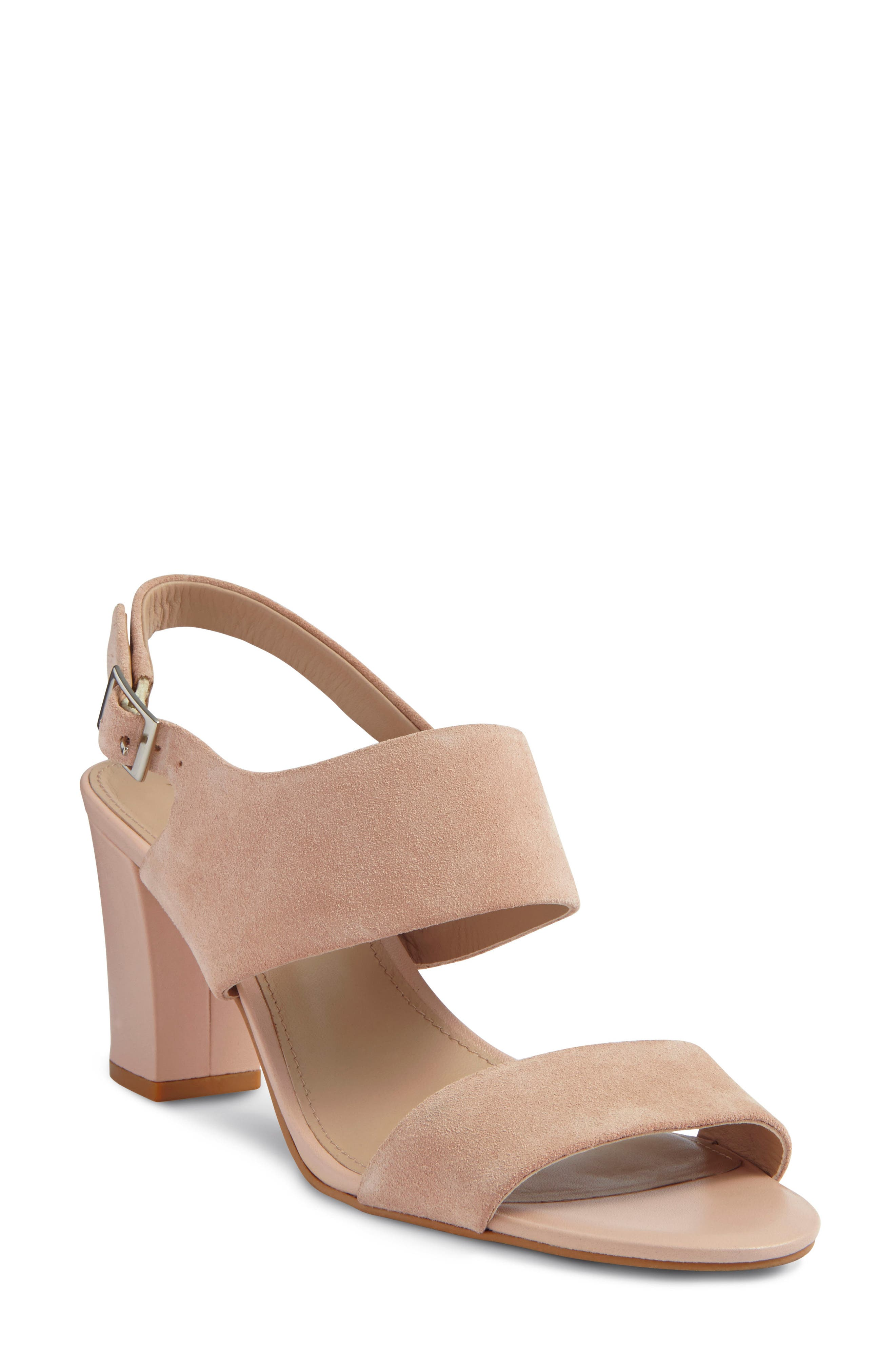 Strappy Sandal,                         Main,                         color, Blush Nude Suede