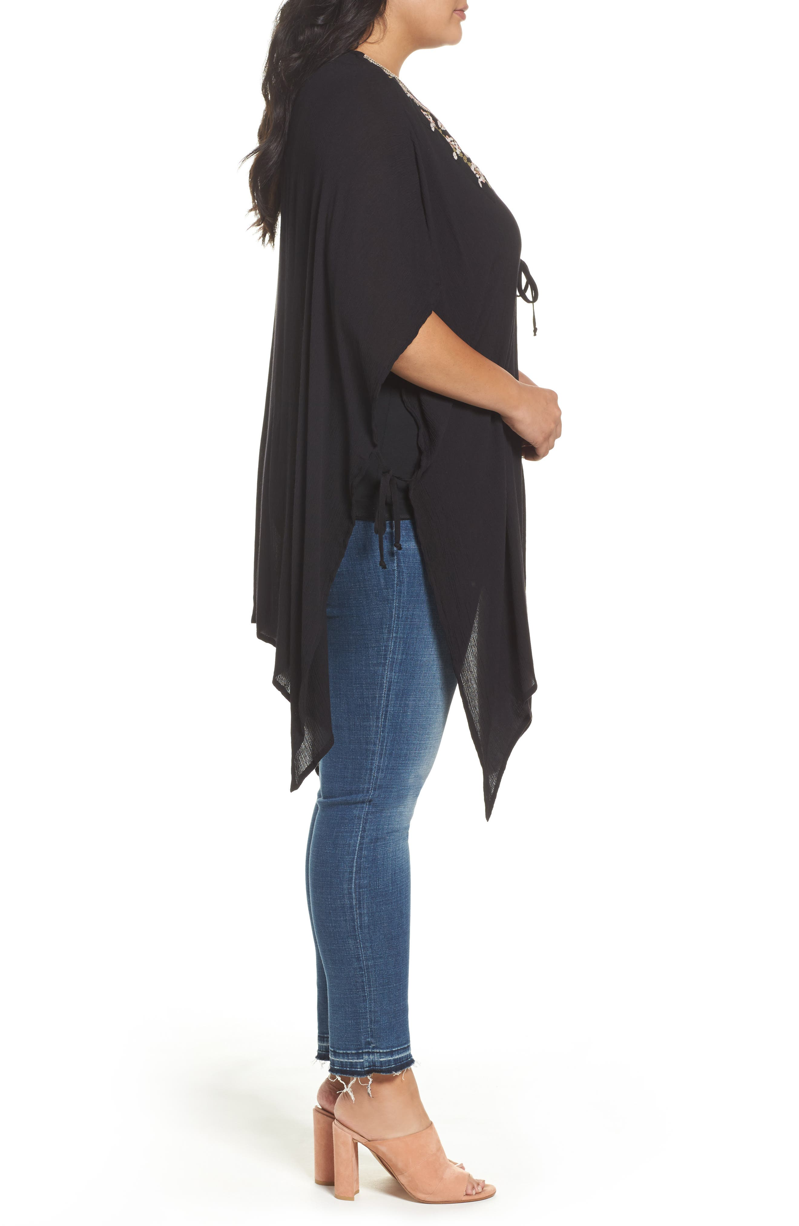 Embroidered Wrap,                             Alternate thumbnail 3, color,                             Black