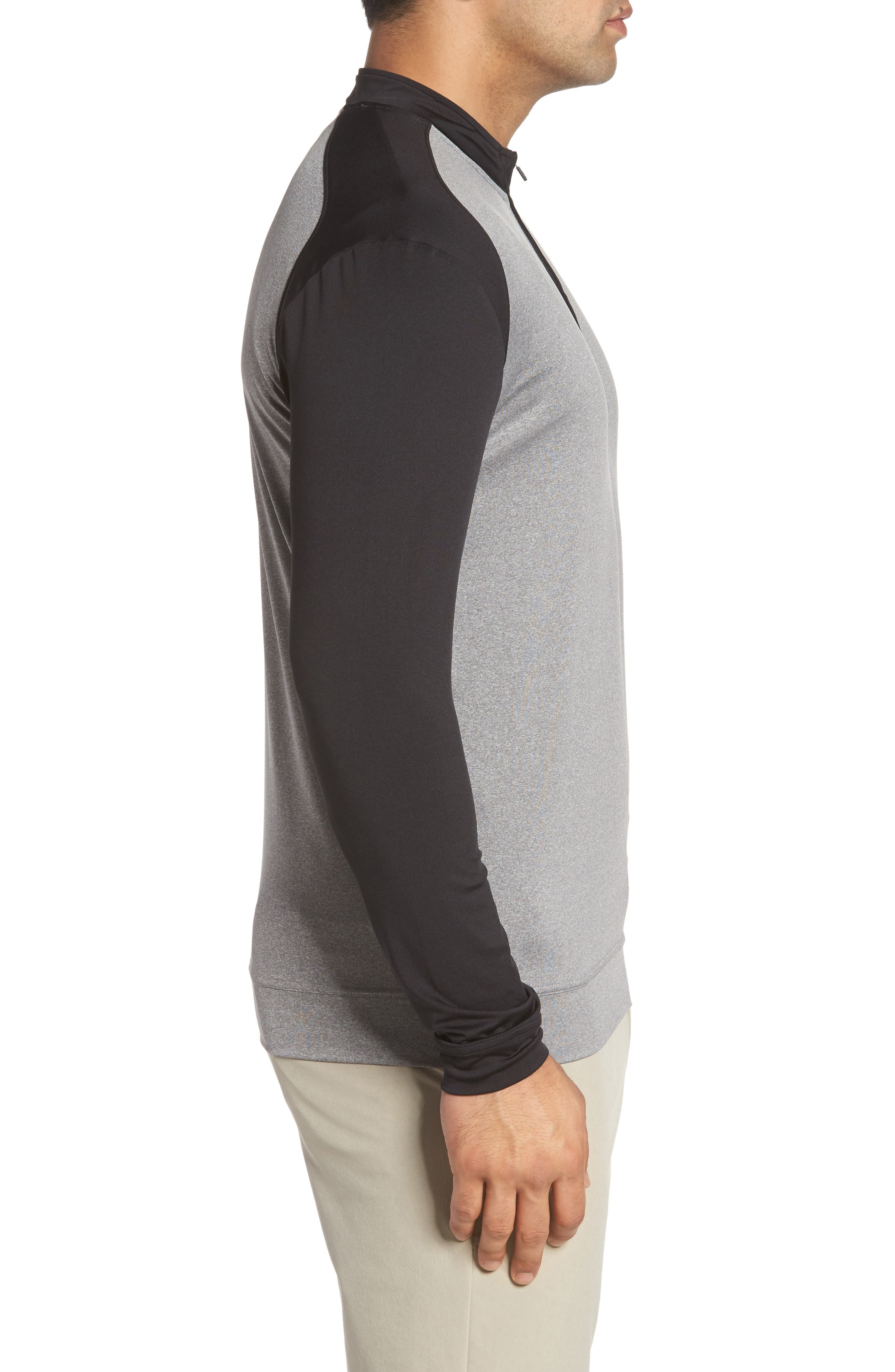 Sway Classic Fit Zip Raglan Pullover,                             Alternate thumbnail 3, color,                             Black