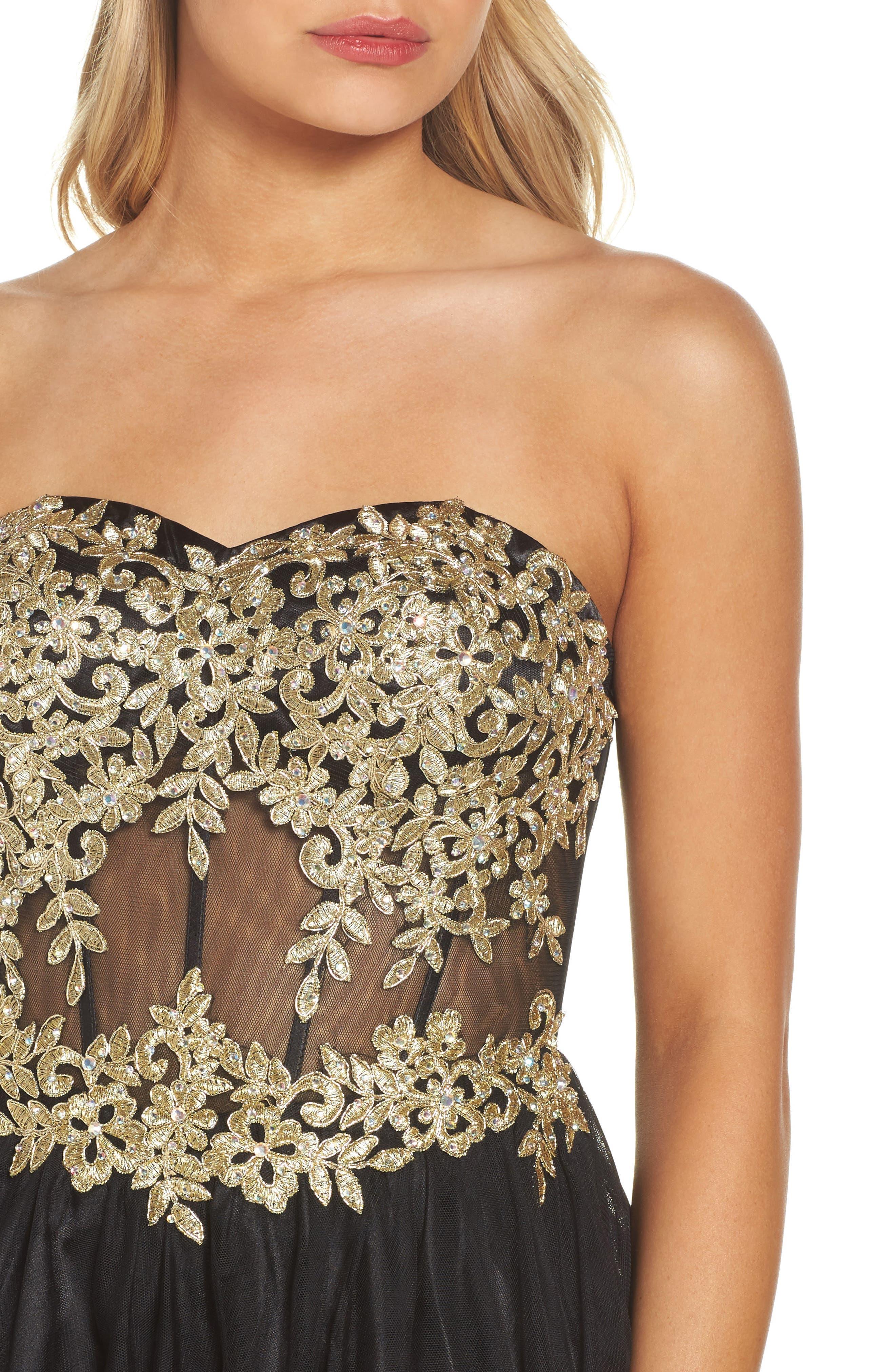 Appliqué Strapless Fit & Flare Dress,                             Alternate thumbnail 4, color,                             Black/ Gold