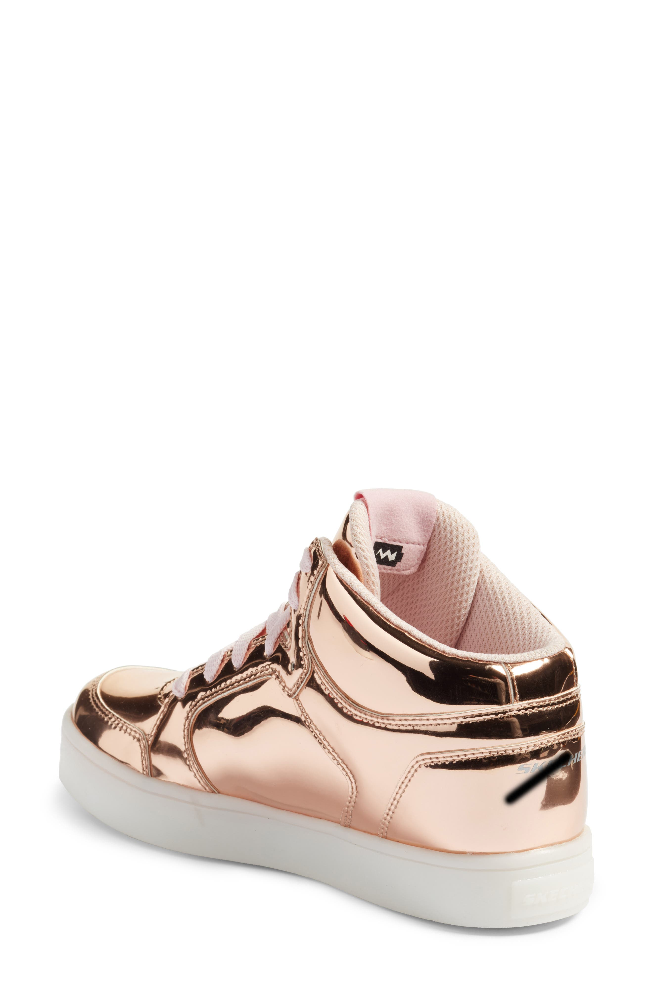 Energy Lights Metallic High Top Sneaker,                             Alternate thumbnail 2, color,                             Rose Gold