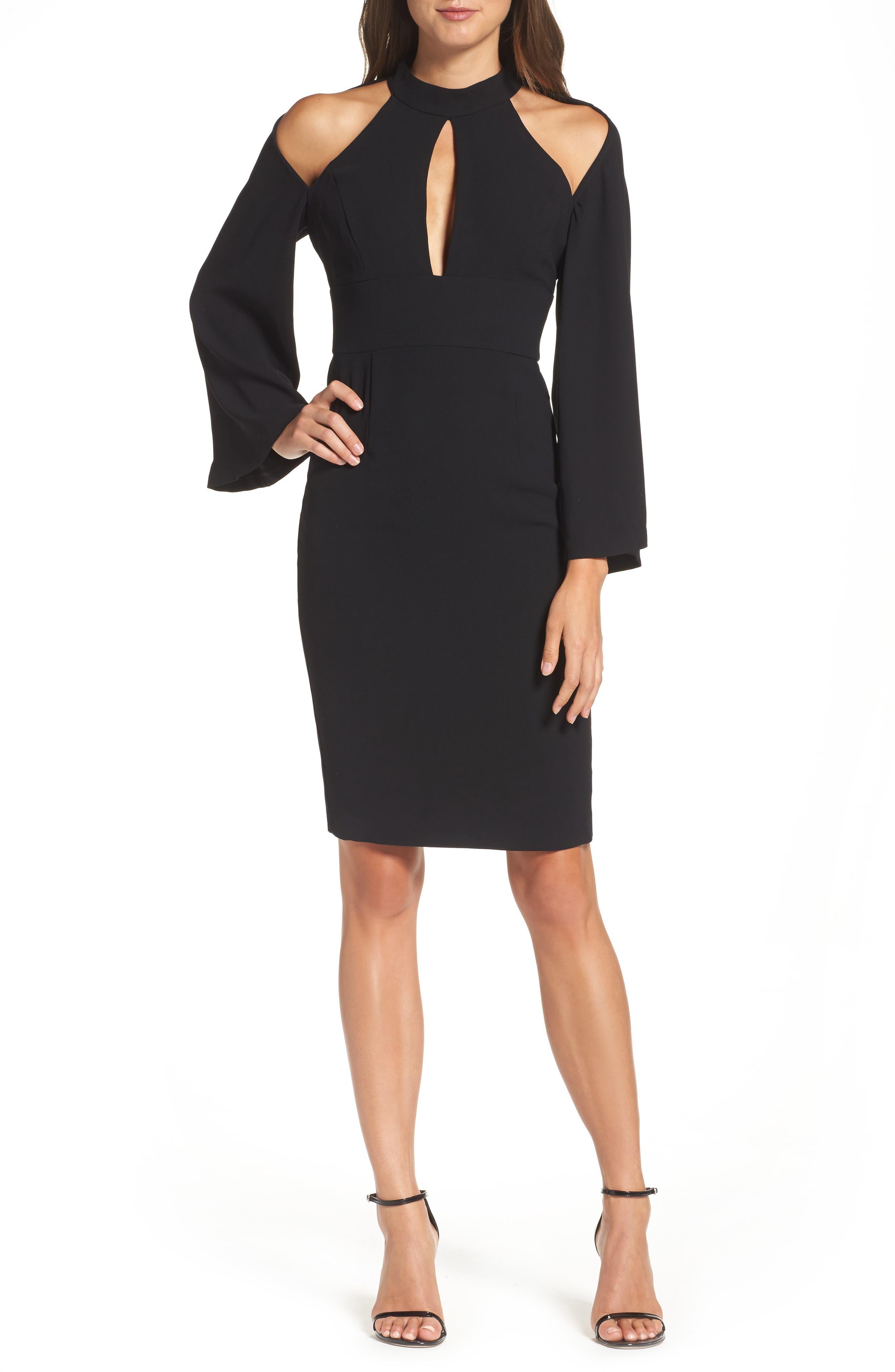 Drape Sleeve Cutout Sheath Dress,                         Main,                         color, Black