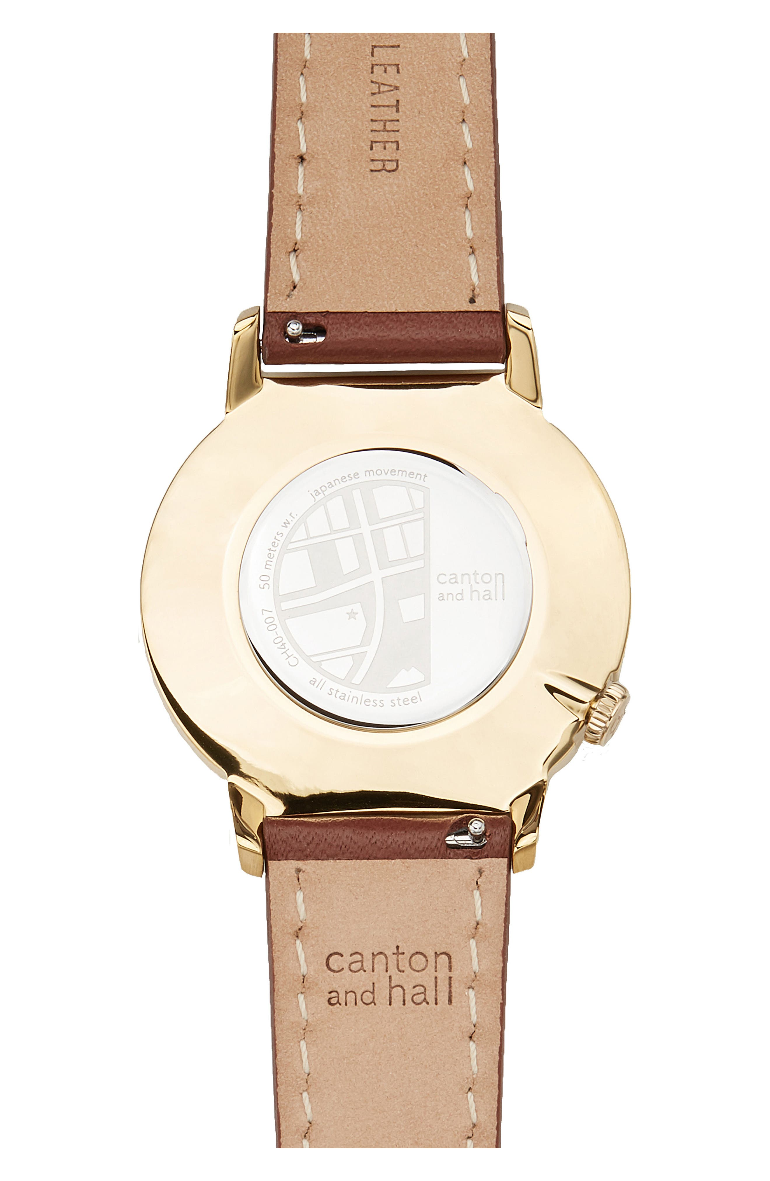 Alternate Image 2  - Canton and Hall Davis Leather Strap Watch, 40mm