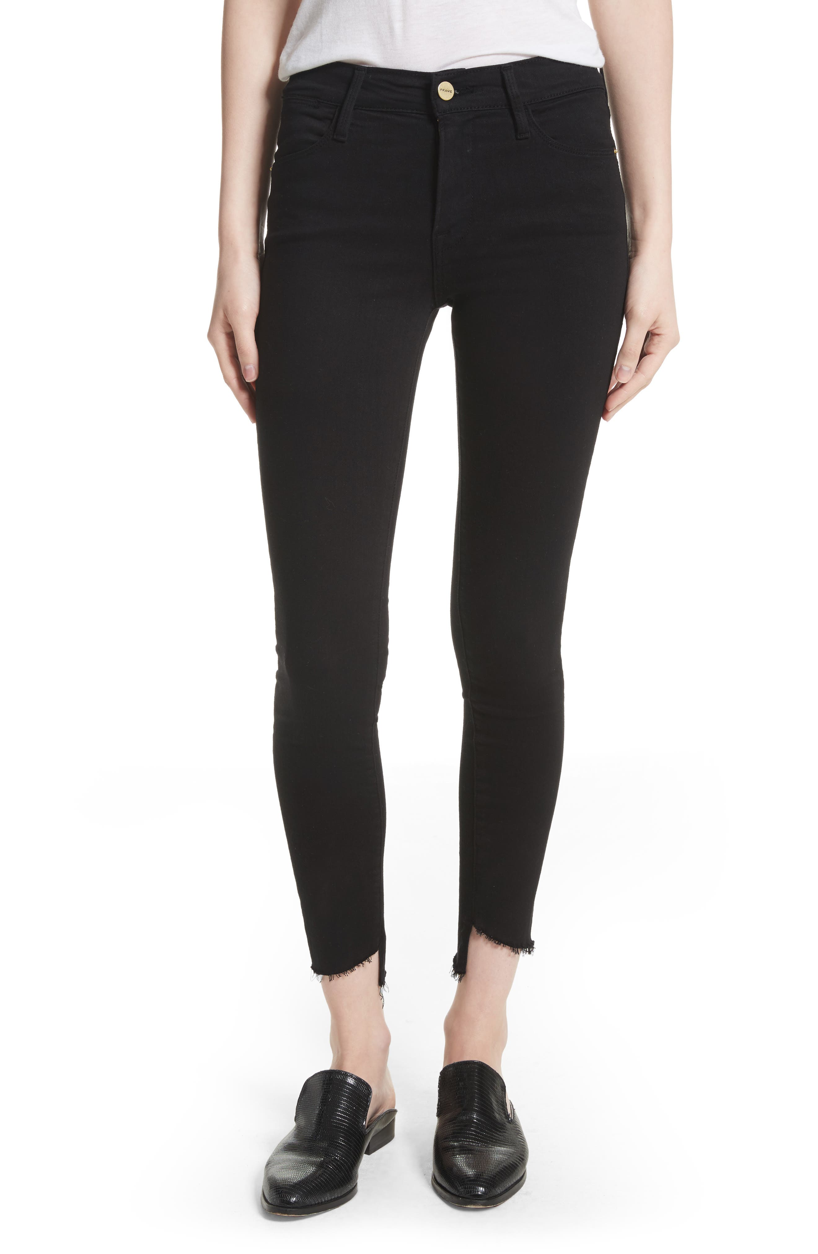 Main Image - FRAME Le High Skinny Step Hem Jeans (Film Noir) (Nordstrom Exclusive)