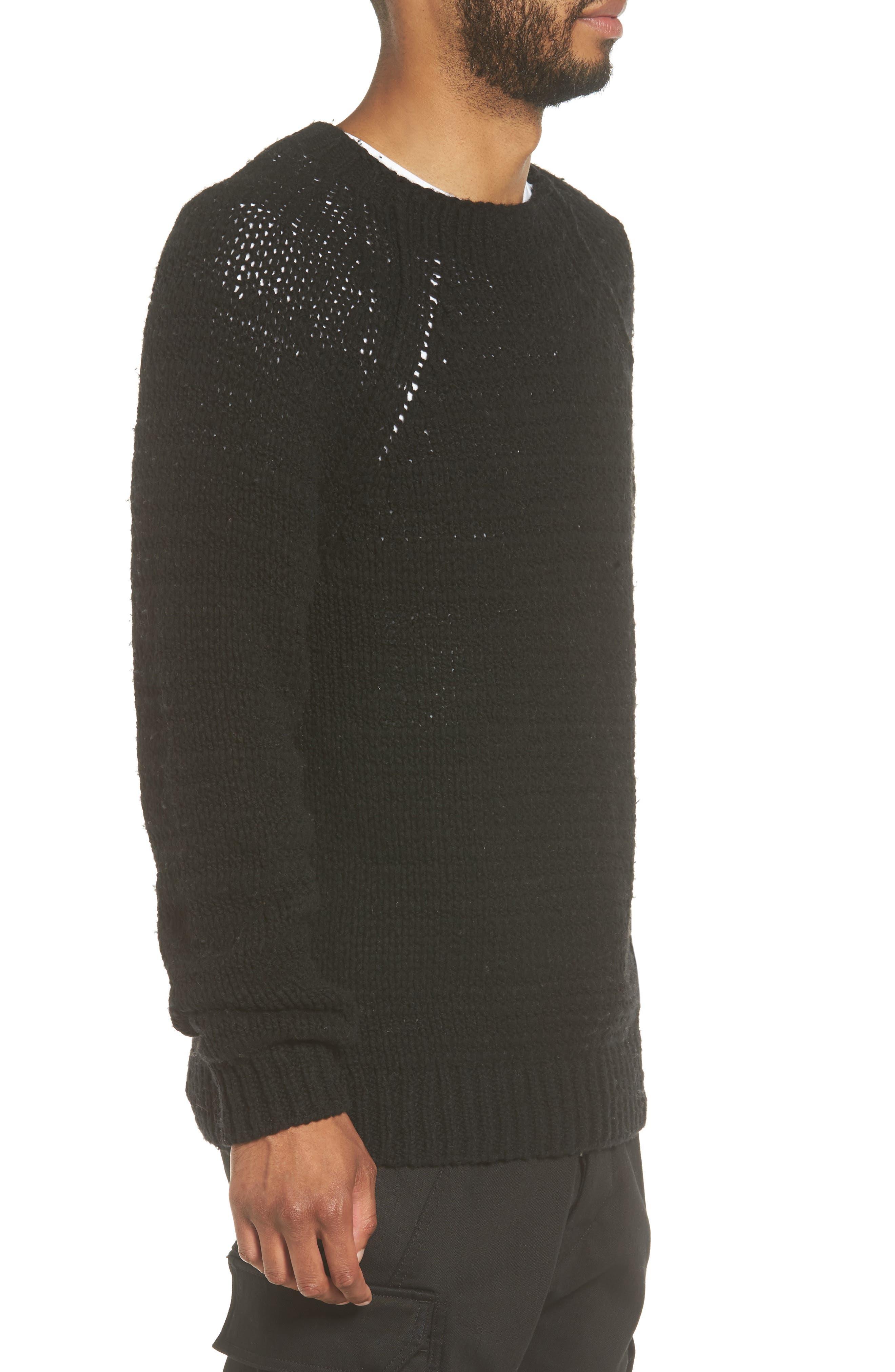 Raglan Sweater,                             Alternate thumbnail 3, color,                             Black
