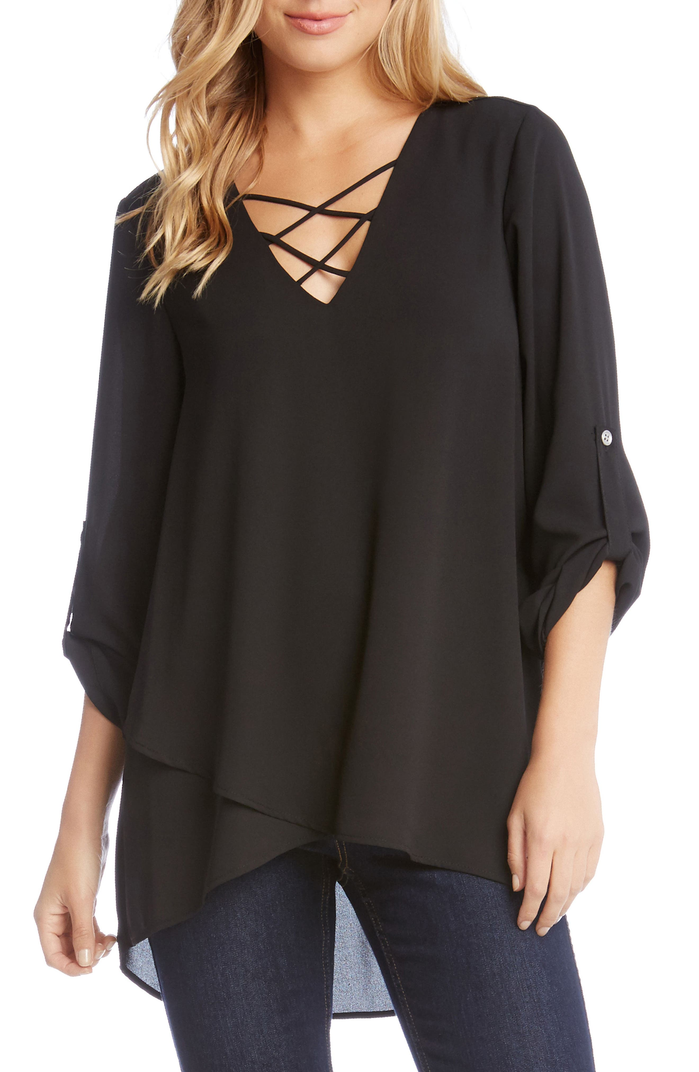 Crisscross Wrap Top,                         Main,                         color, Black