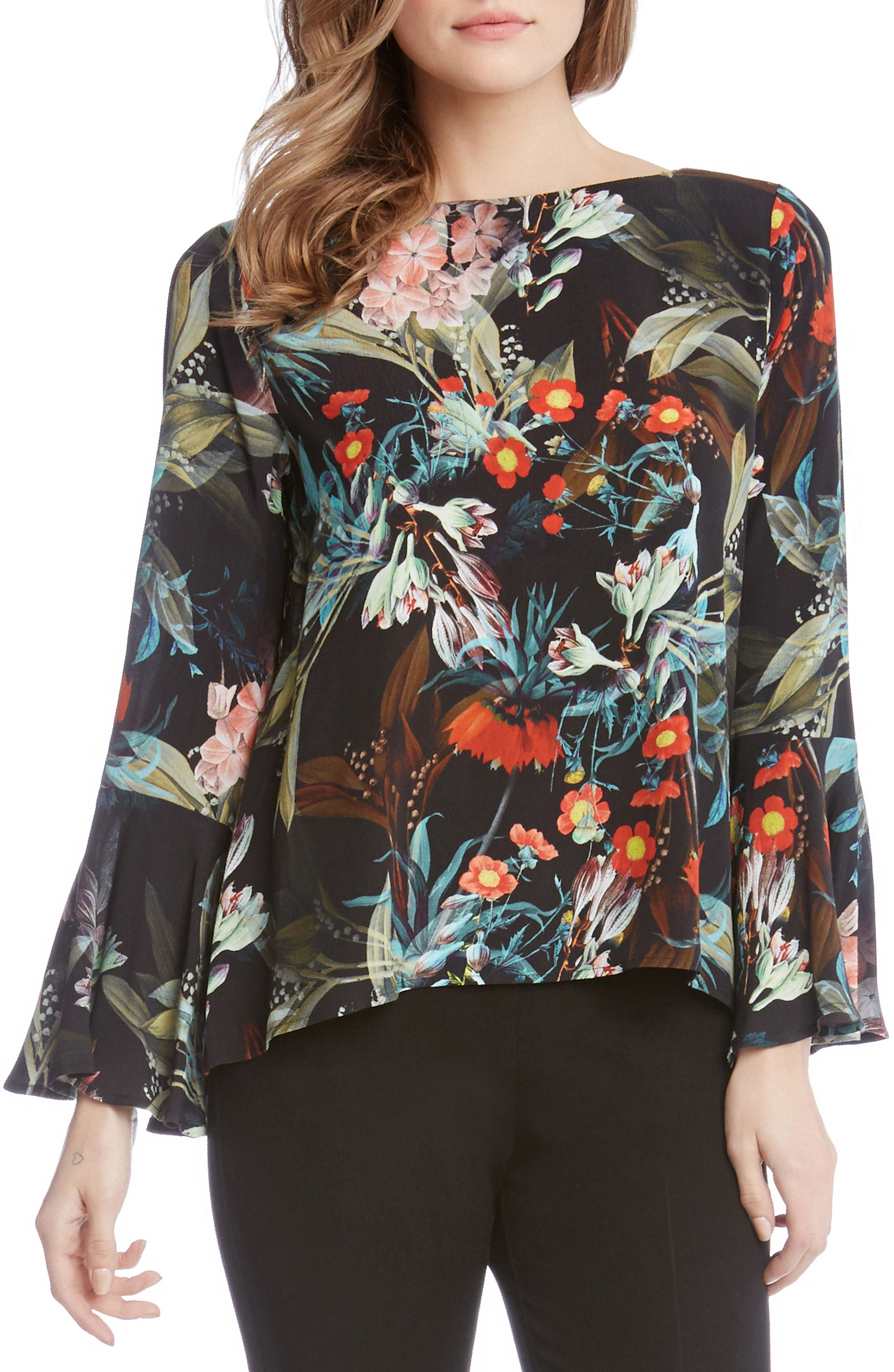 Bell Sleeve Top,                         Main,                         color, Print