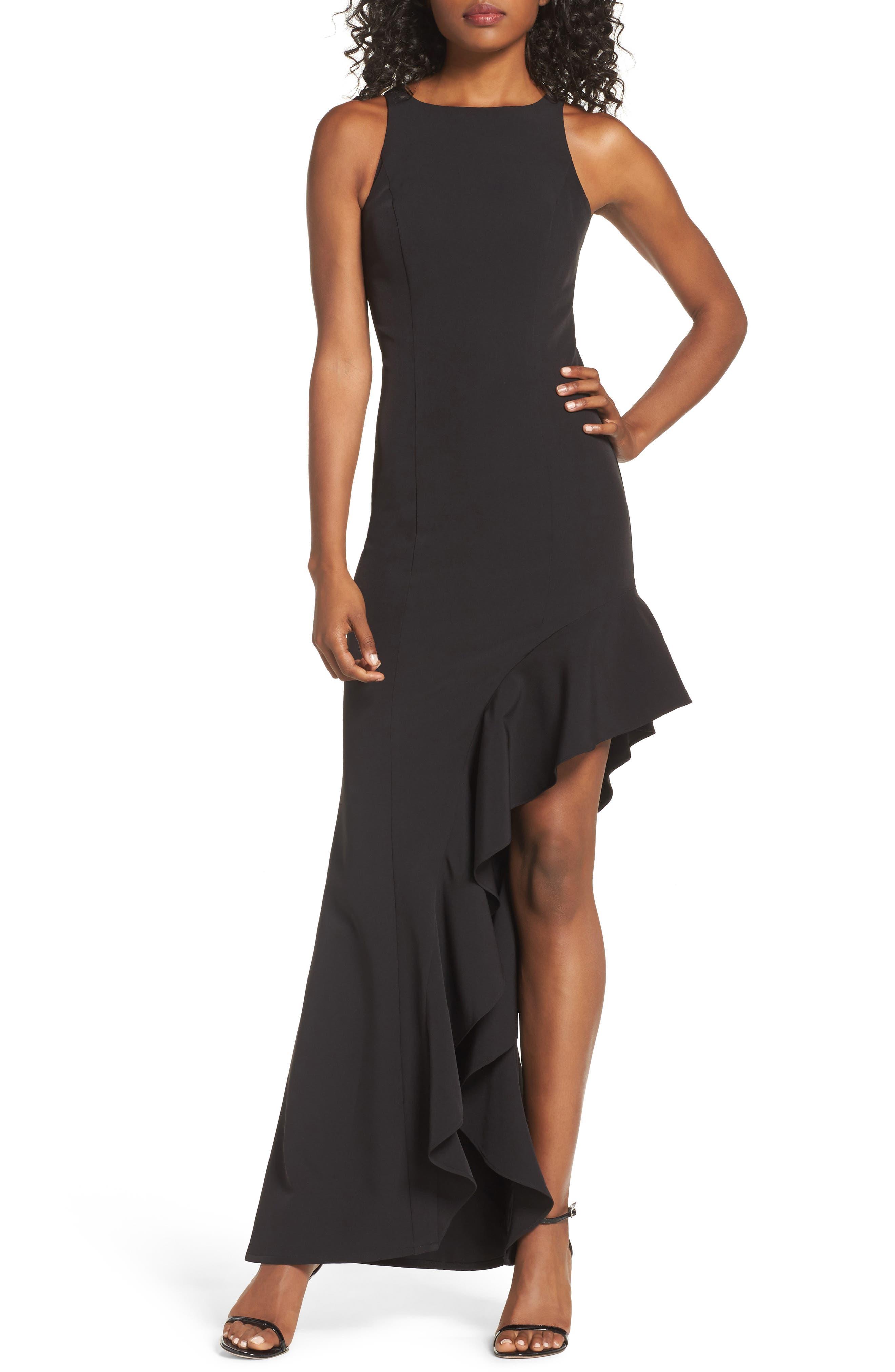 Stella Asymmetrical Ruffle Gown,                         Main,                         color, Black