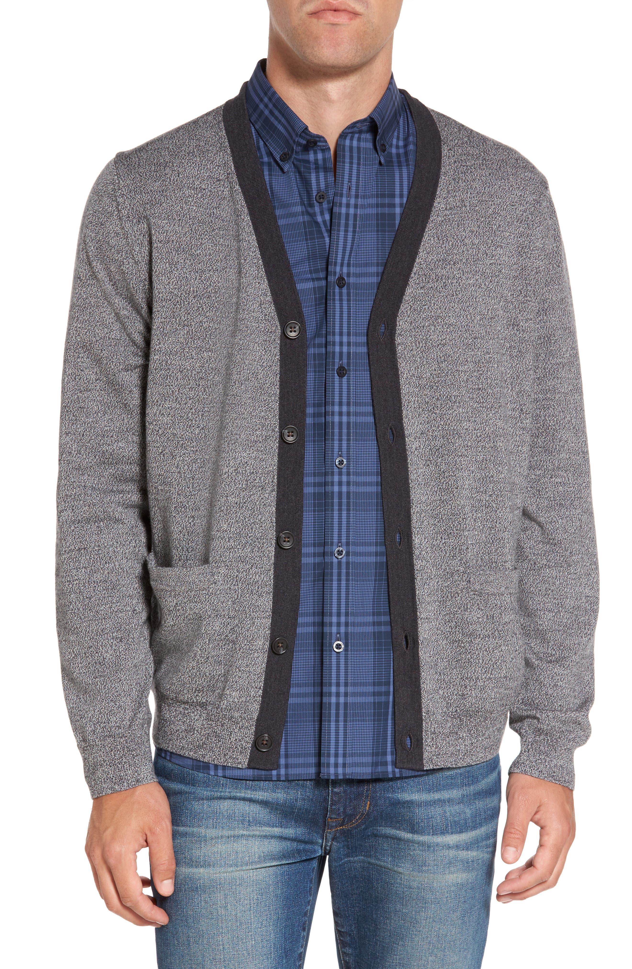 Main Image - Nordstrom Men's Shop Contrast Trim Merino Wool Cardigan