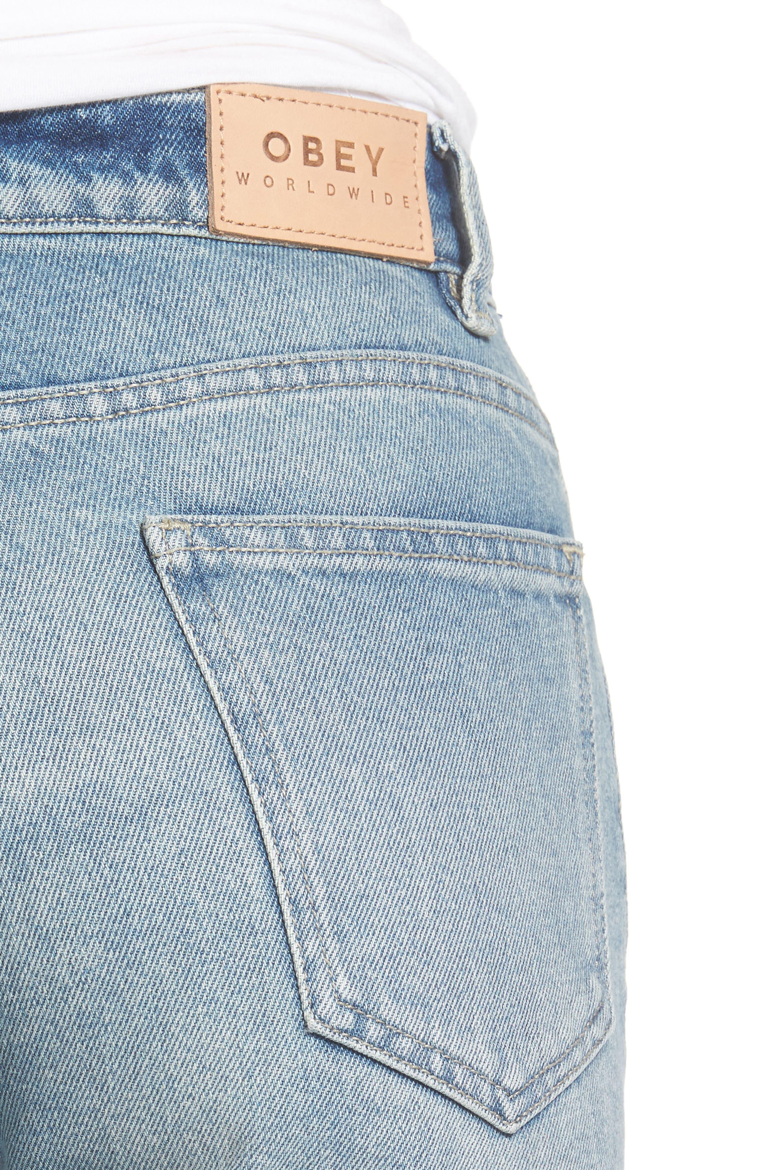 Sundays Straggler High Waist Jeans,                             Alternate thumbnail 4, color,                             Bleached Indigo