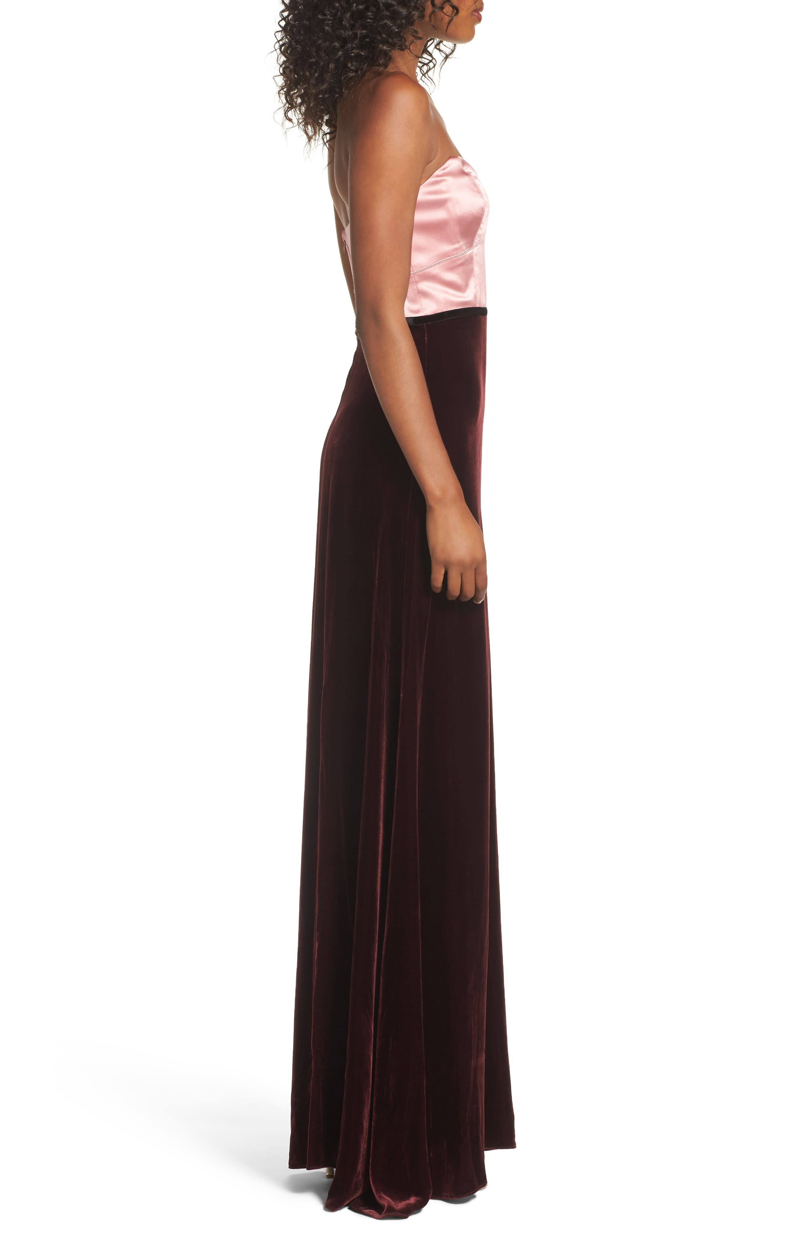 Strapless Satin & Velvet Gown,                             Alternate thumbnail 3, color,                             Prim Rose/ Raisin/ Black