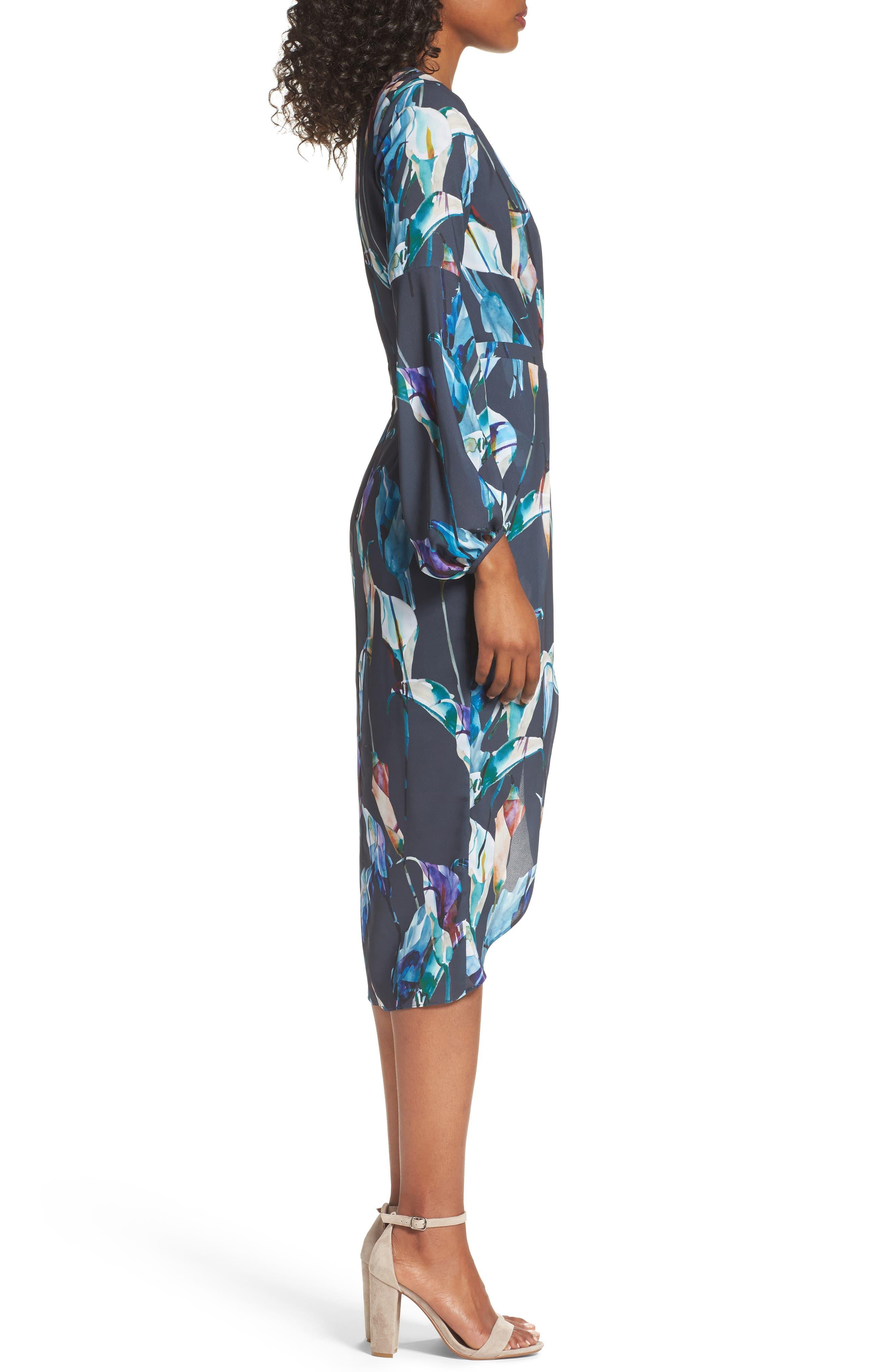 Romanticise Midi Dress,                             Alternate thumbnail 3, color,                             Black/ Aqua