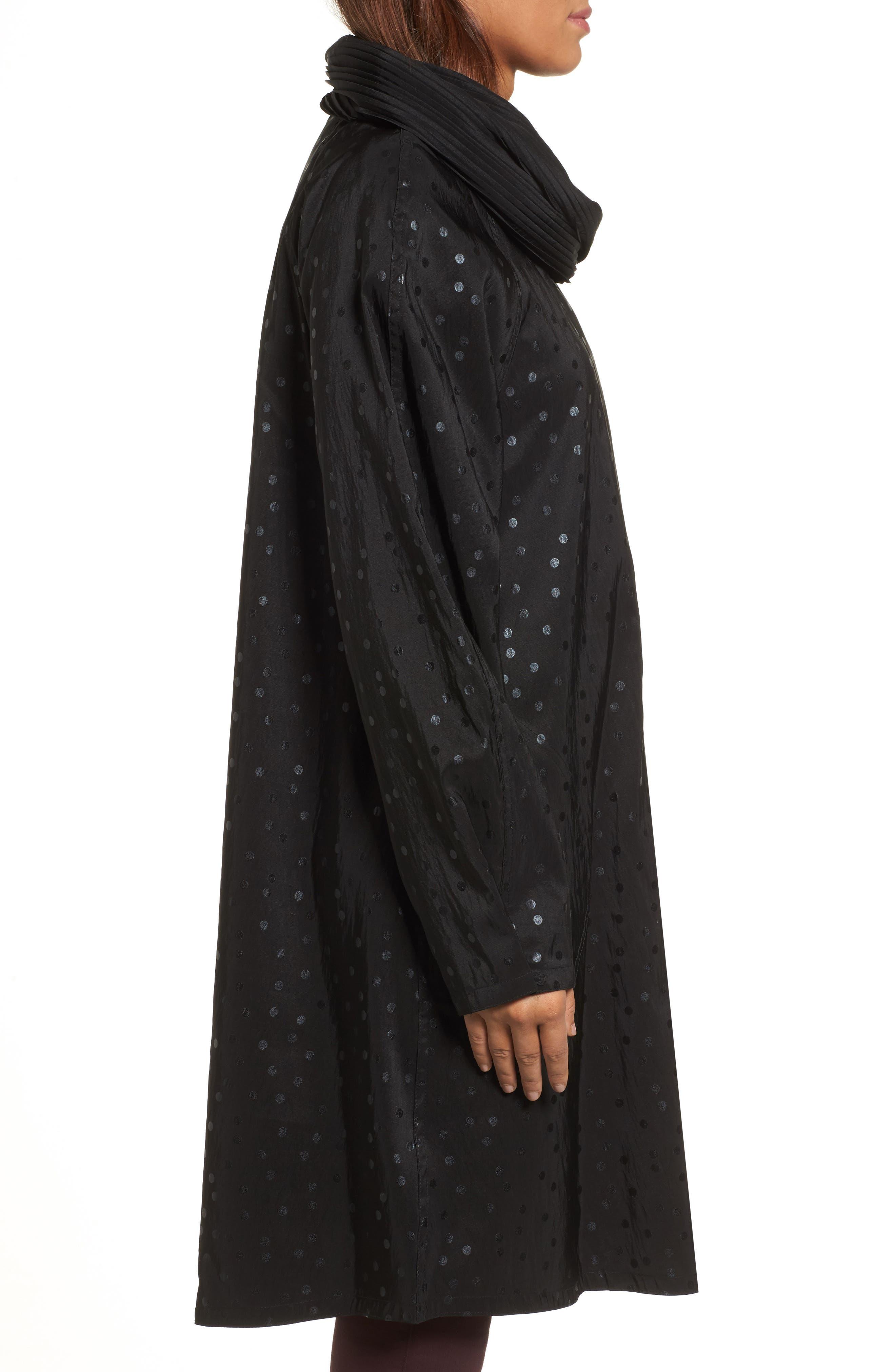 'Donatella' Reversible Dot Pleat Hood Packable Travel Coat,                             Alternate thumbnail 3, color,                             Black Dot