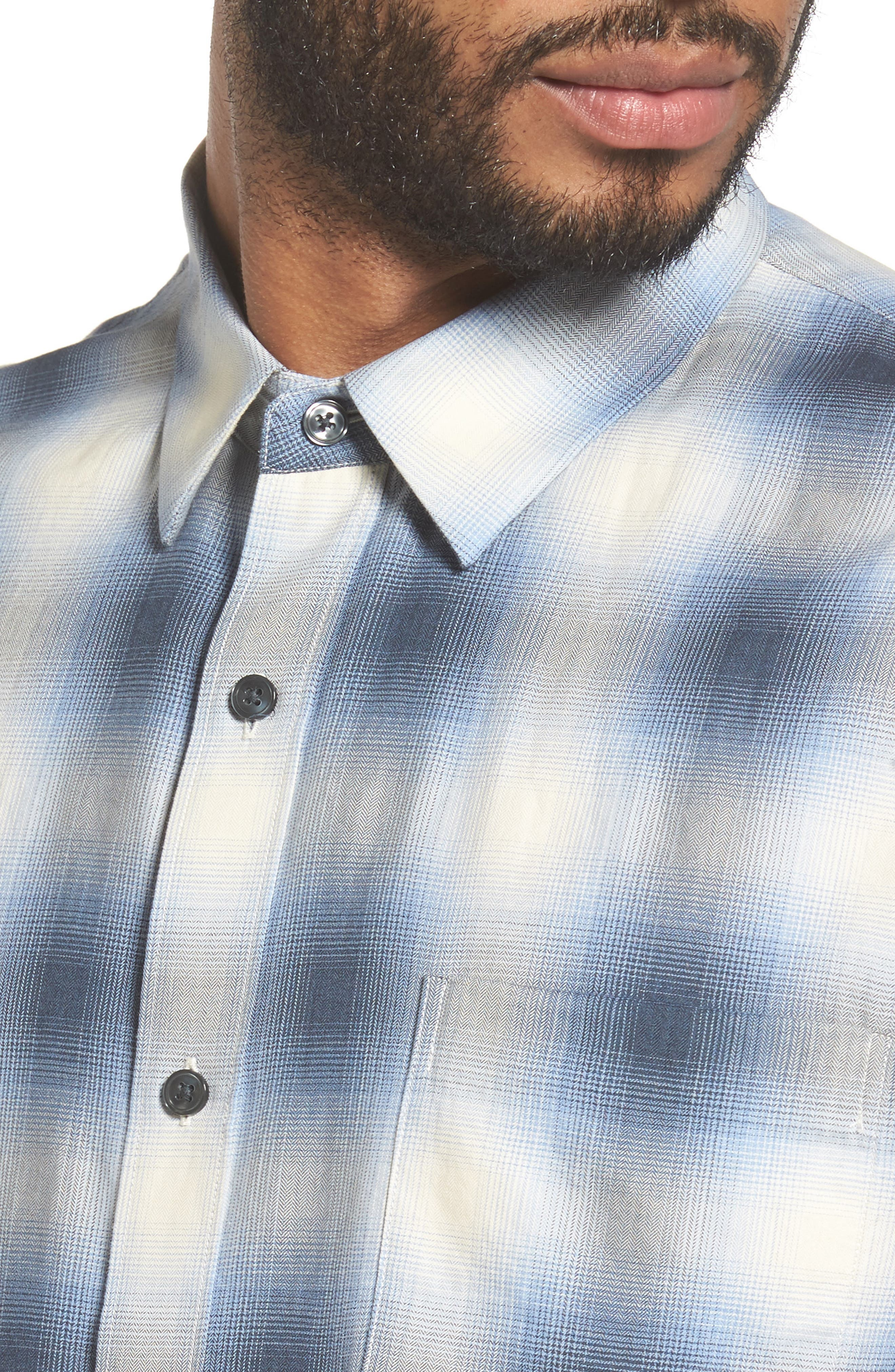 Regular Fit Check Sport Shirt,                             Alternate thumbnail 4, color,                             Light Blue
