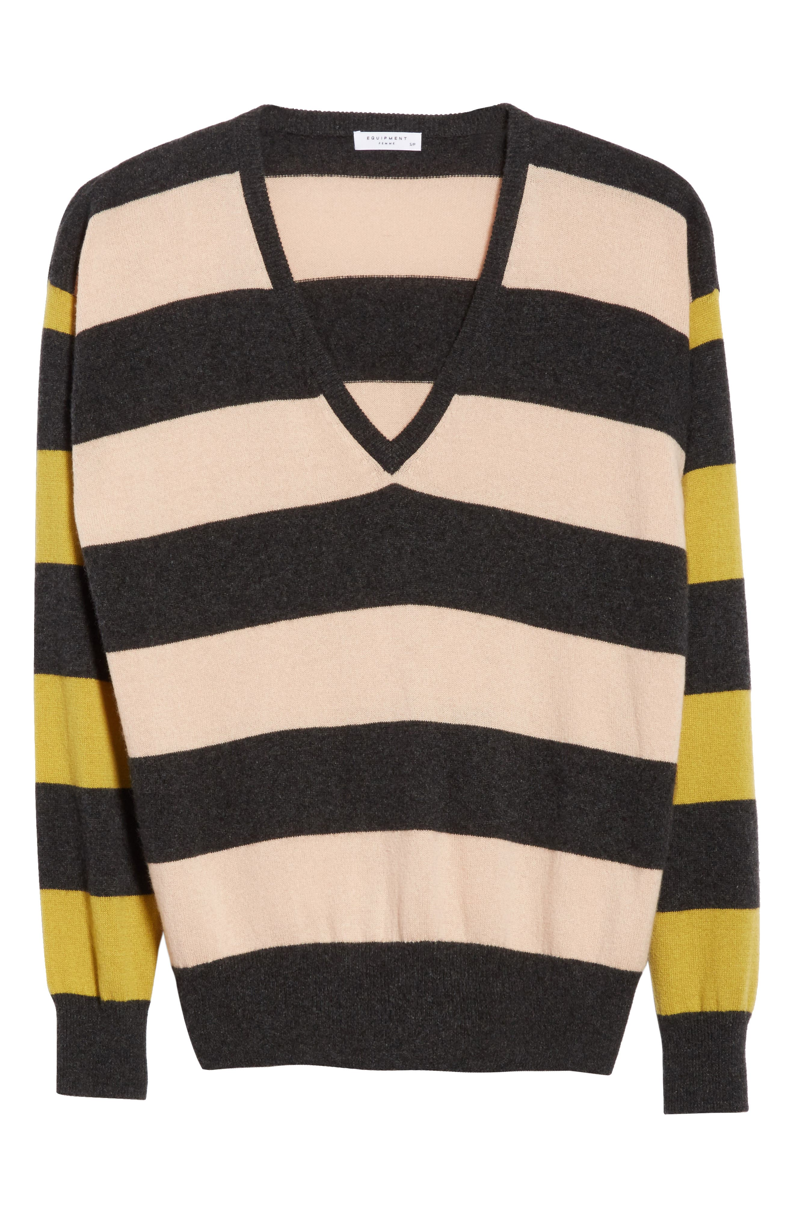 Lucinda Stripe Cashmere Sweater,                             Alternate thumbnail 6, color,                             French Nude