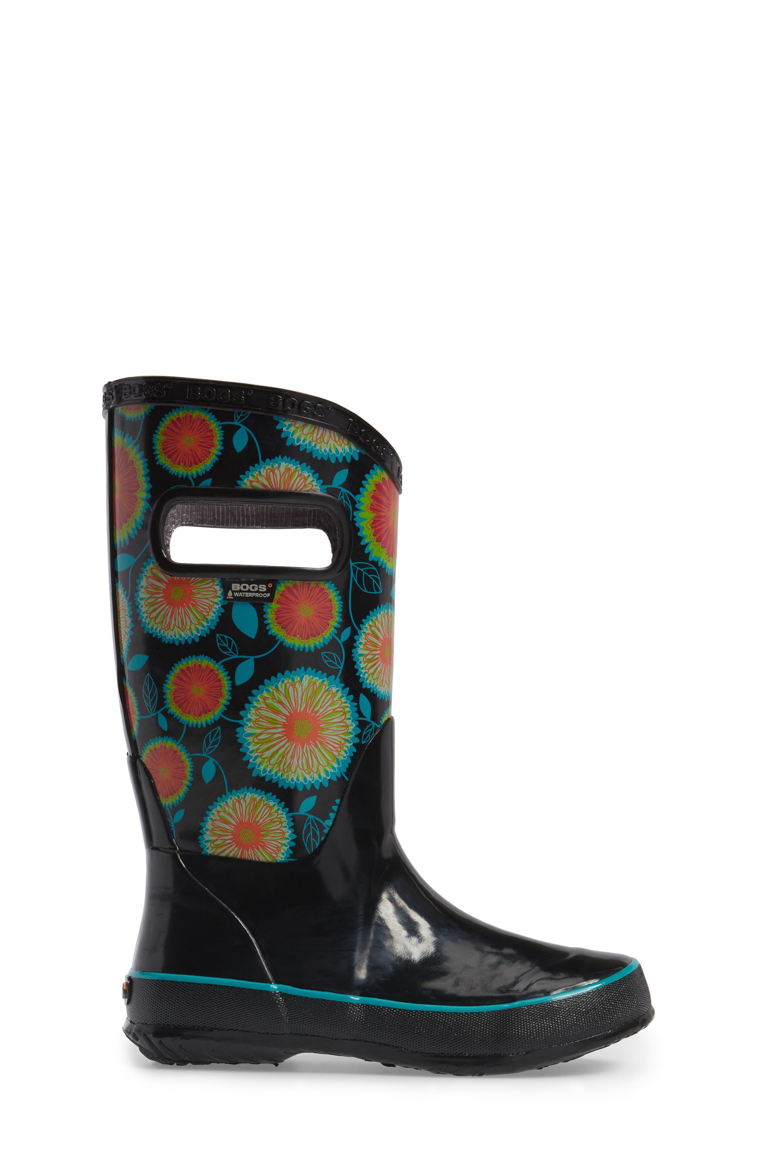 Wildflowers Waterproof Rubber Rain Boot,                             Alternate thumbnail 3, color,                             Black Multi