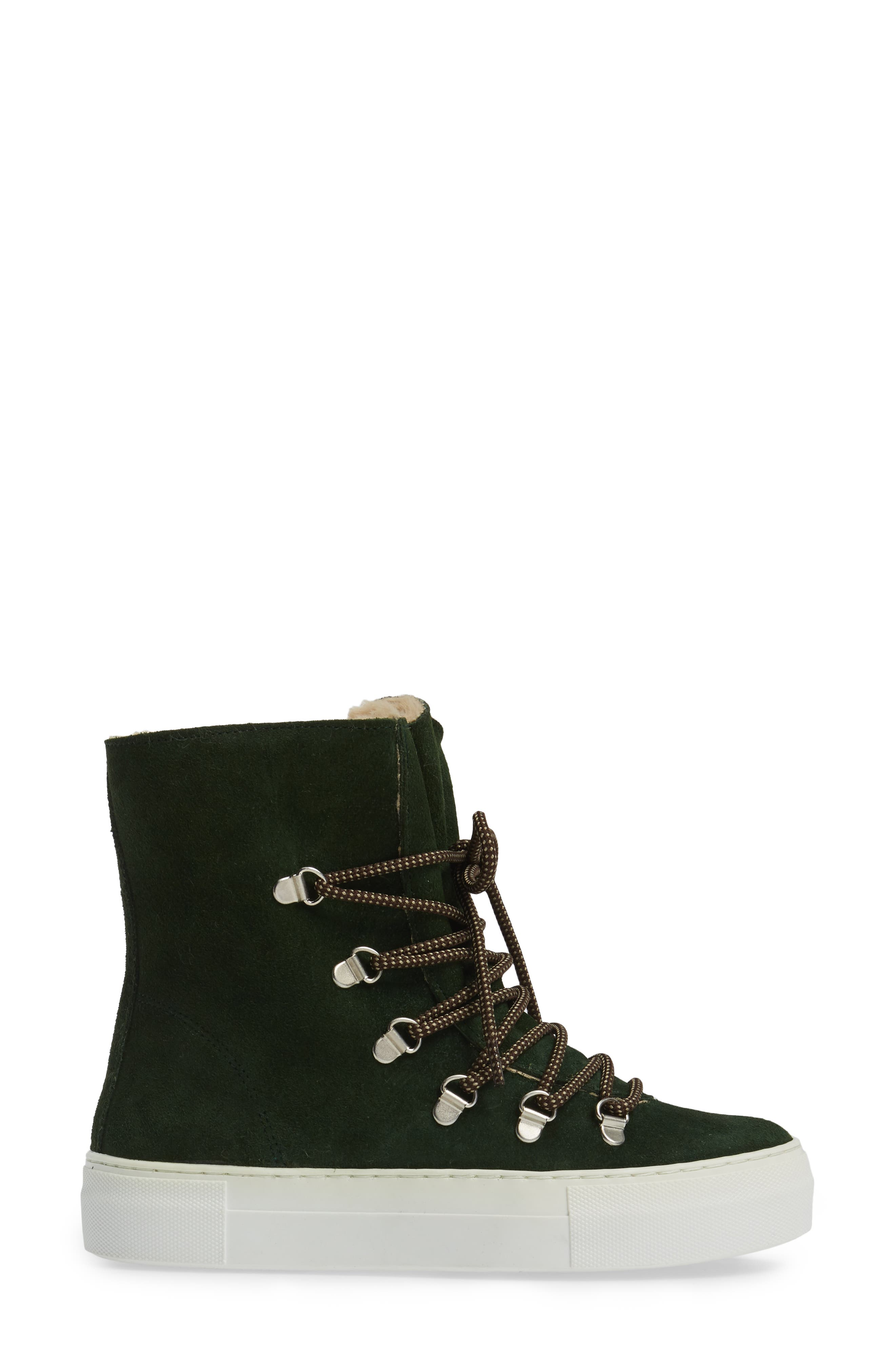 Cimone High Top Sneaker,                             Alternate thumbnail 3, color,                             Green Suede