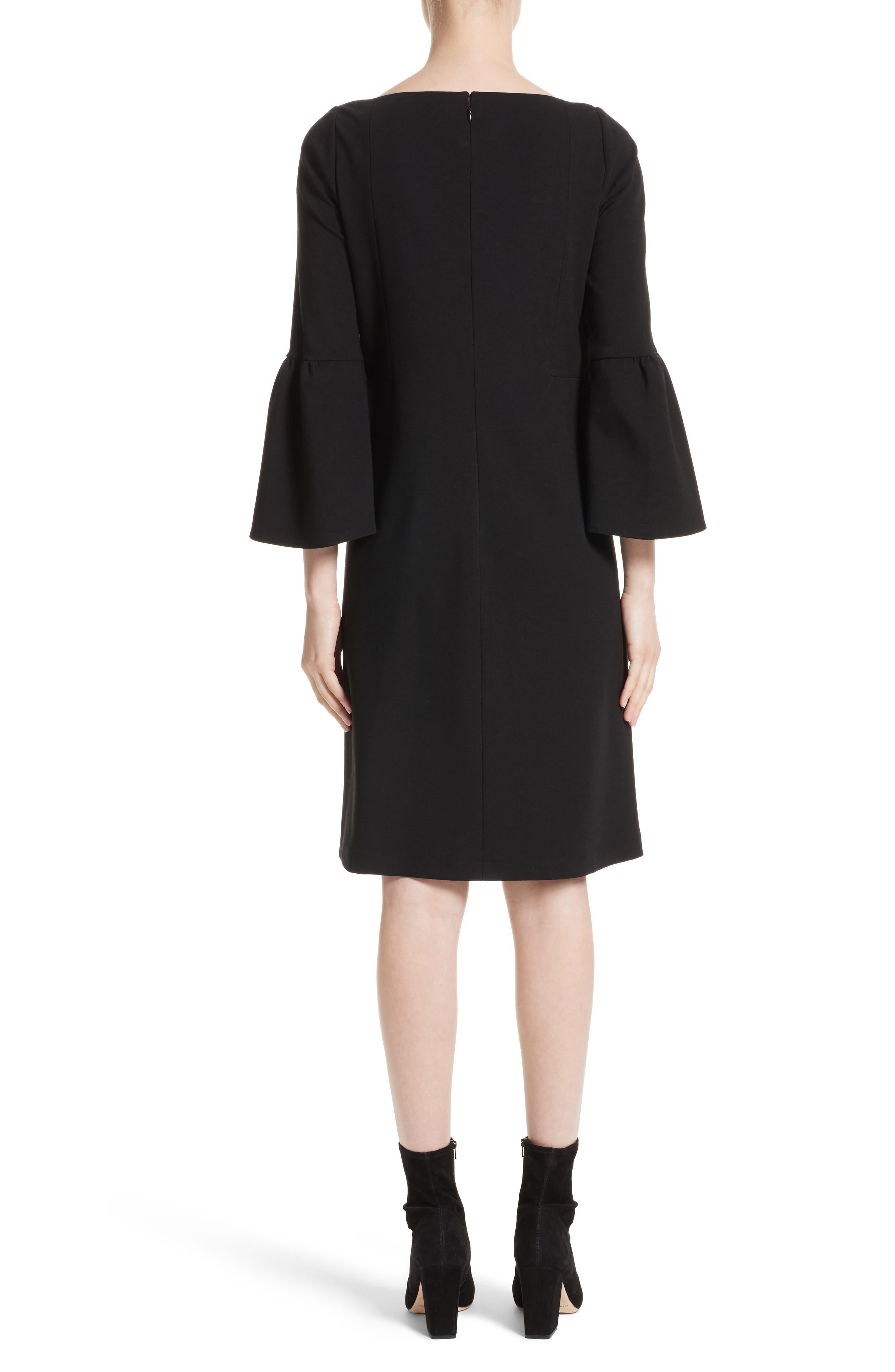 Marissa Punto Milano Dress,                             Alternate thumbnail 2, color,                             Black