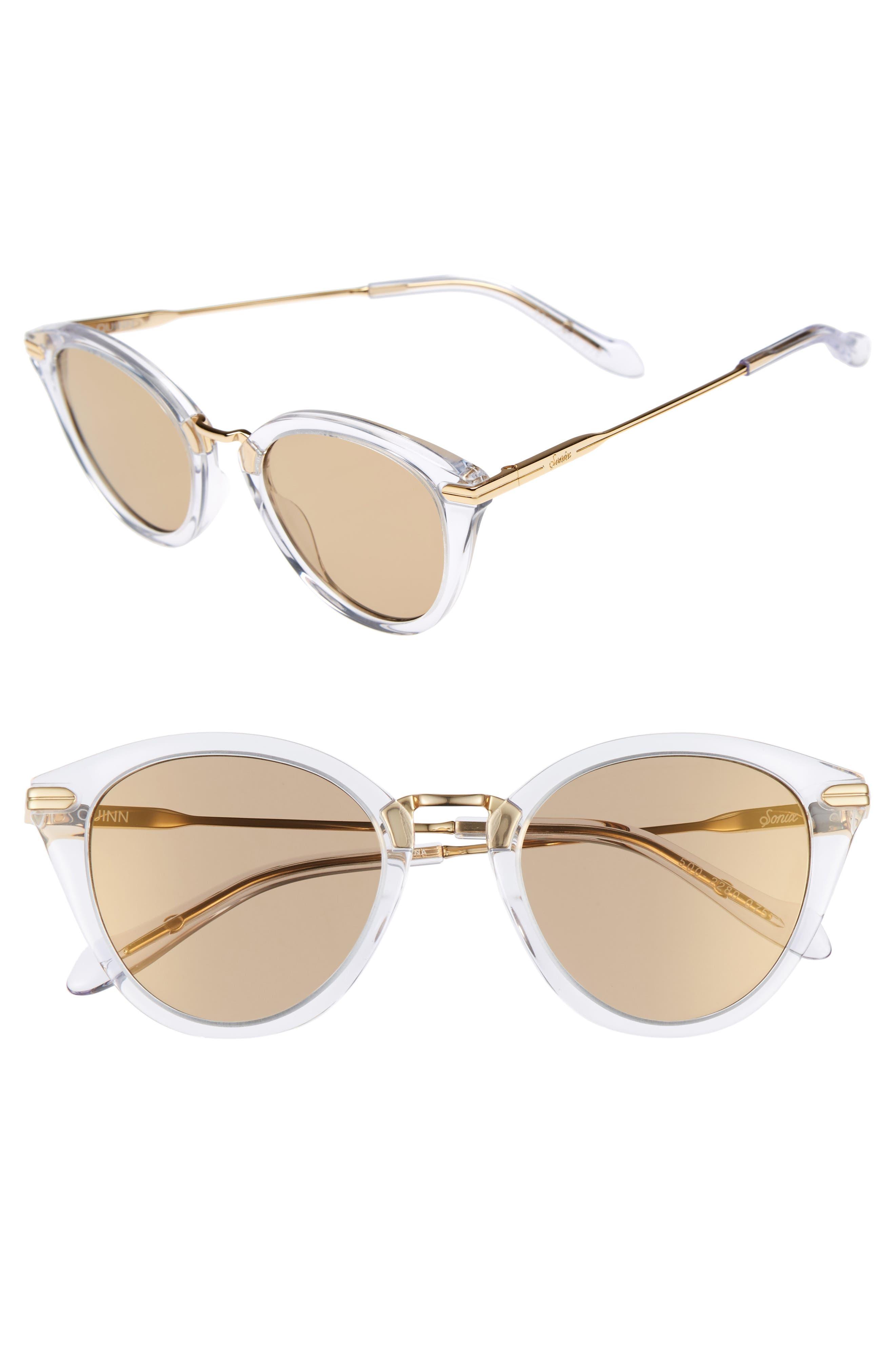 Quinn 48mm Cat Eye Sunglasses,                             Main thumbnail 1, color,                             Clear/ Amber Mirror