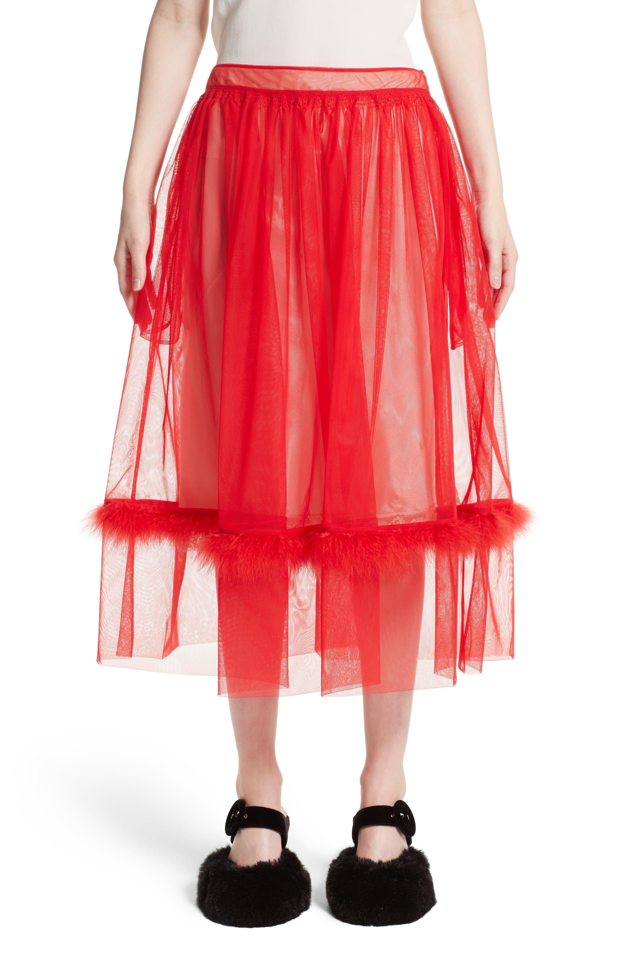 Marabou Trim Smock Waist Tulle Skirt,                         Main,                         color, Red