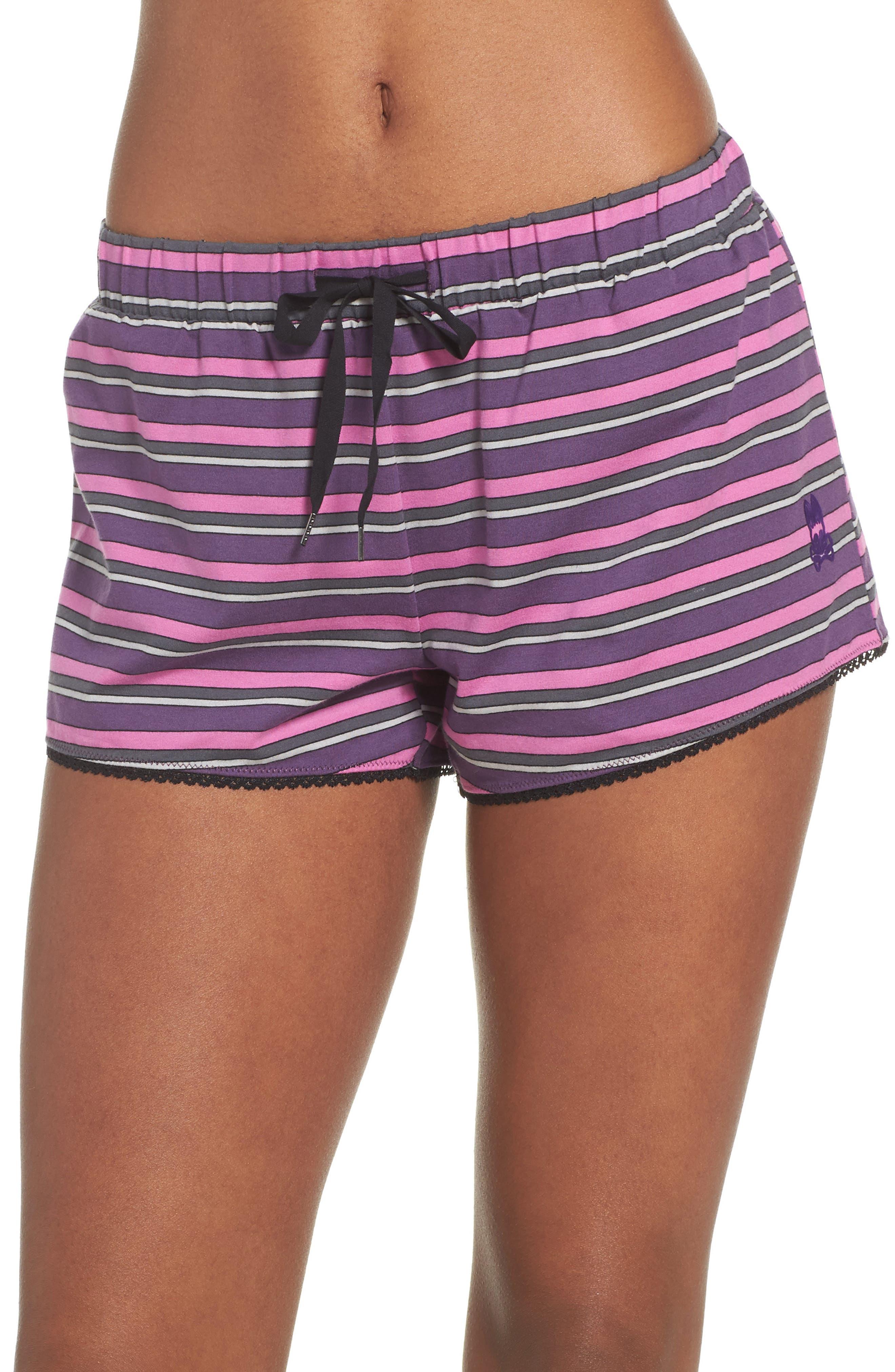 Pajama Shorts,                         Main,                         color, Currant Stripe