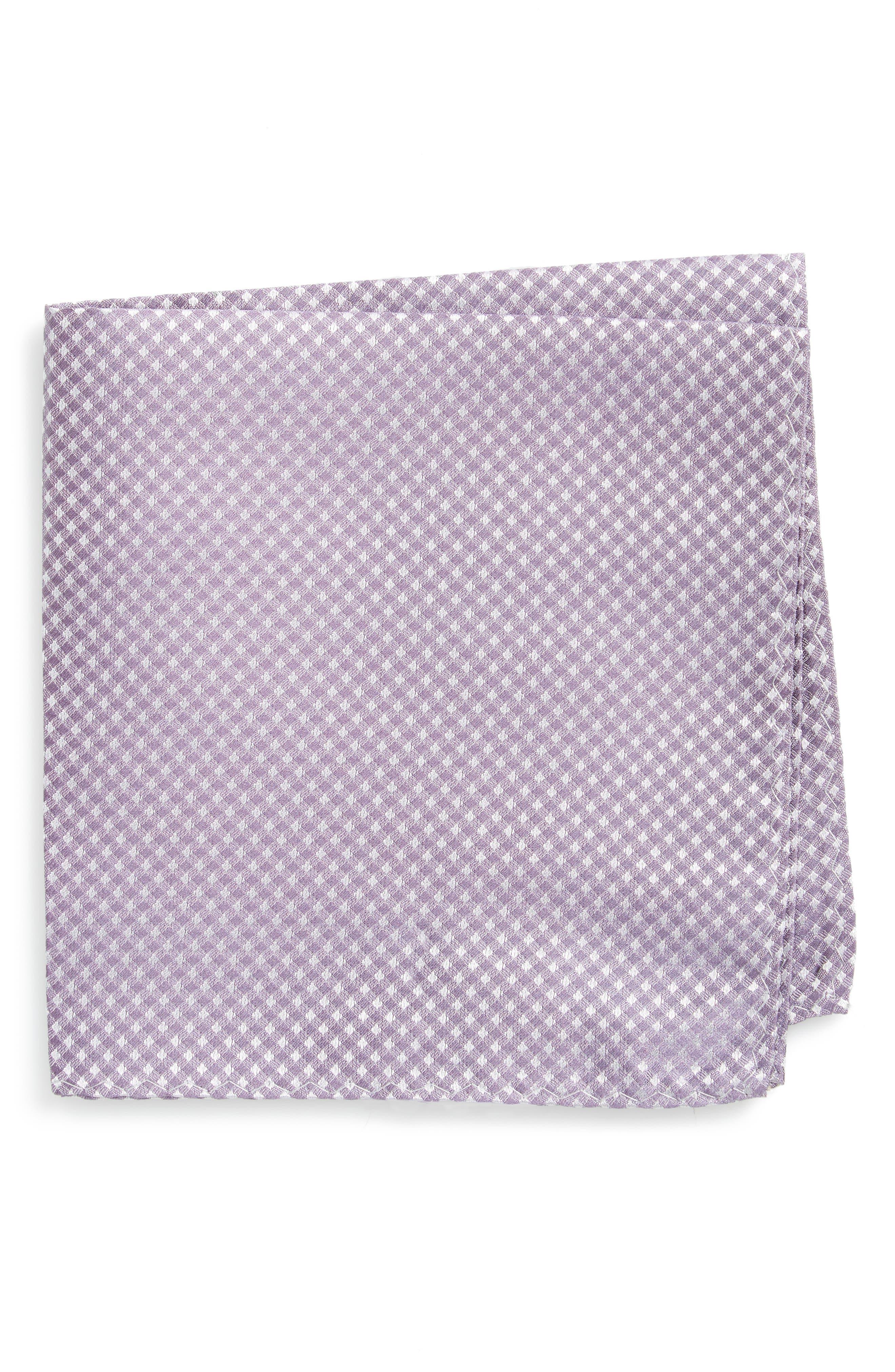 Check Silk Pocket Square,                         Main,                         color, Lavender