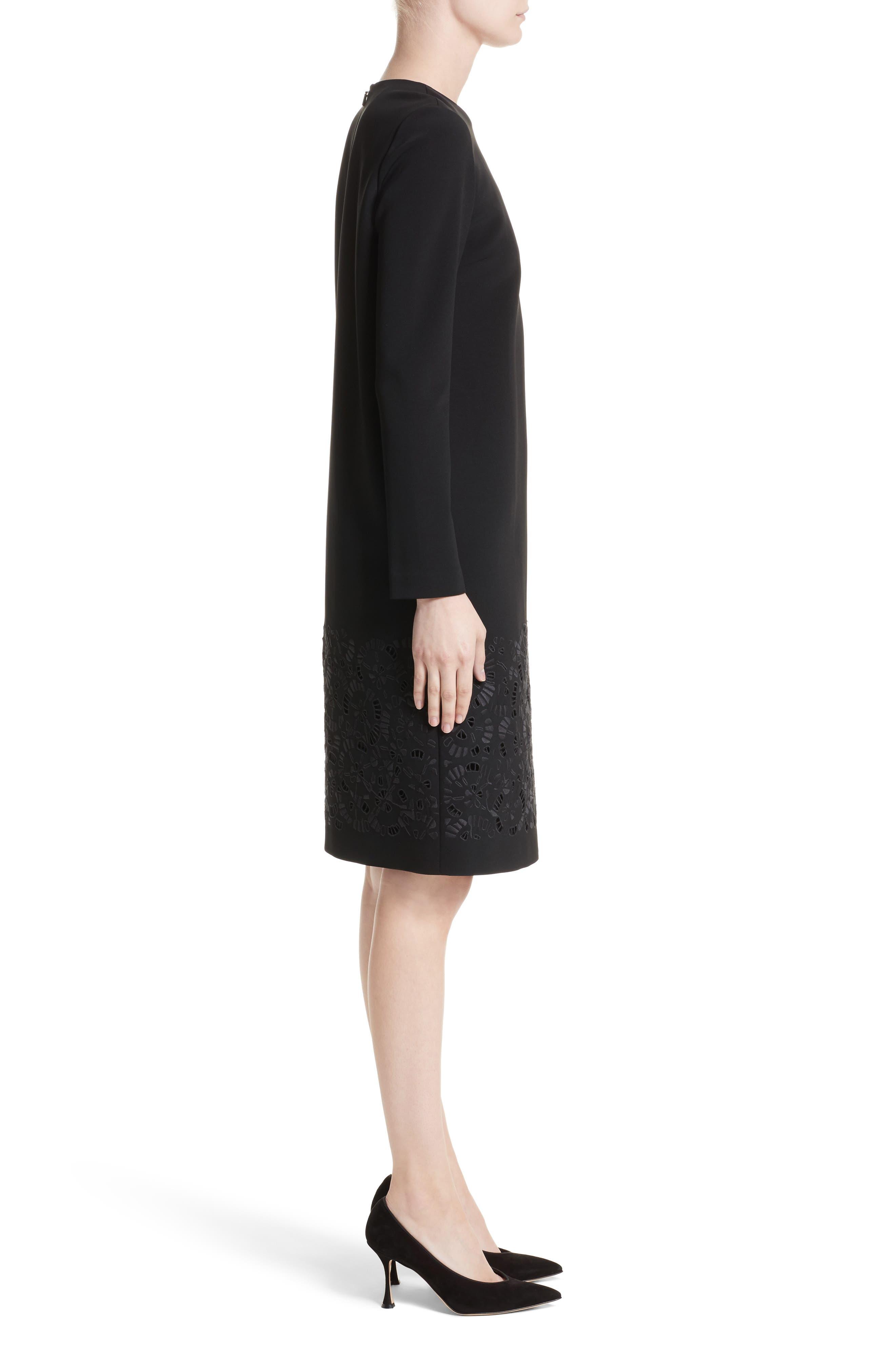 Corbin Embroidered Laser Cut Dress,                             Alternate thumbnail 3, color,                             Black