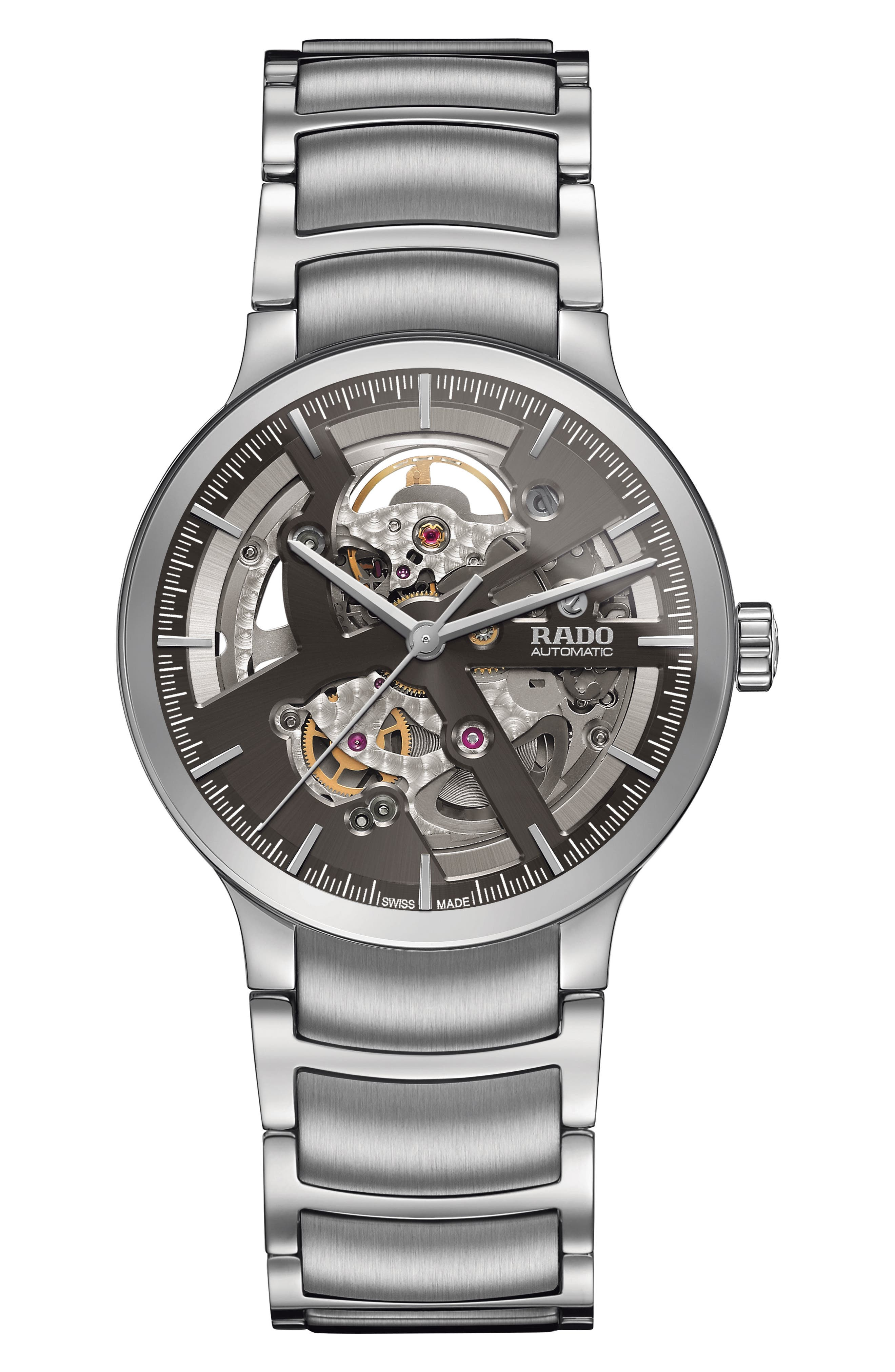 Centrix Automatic Open Heart Bracelet Watch, 38mm,                         Main,                         color, Silver/ Grey/ Silver