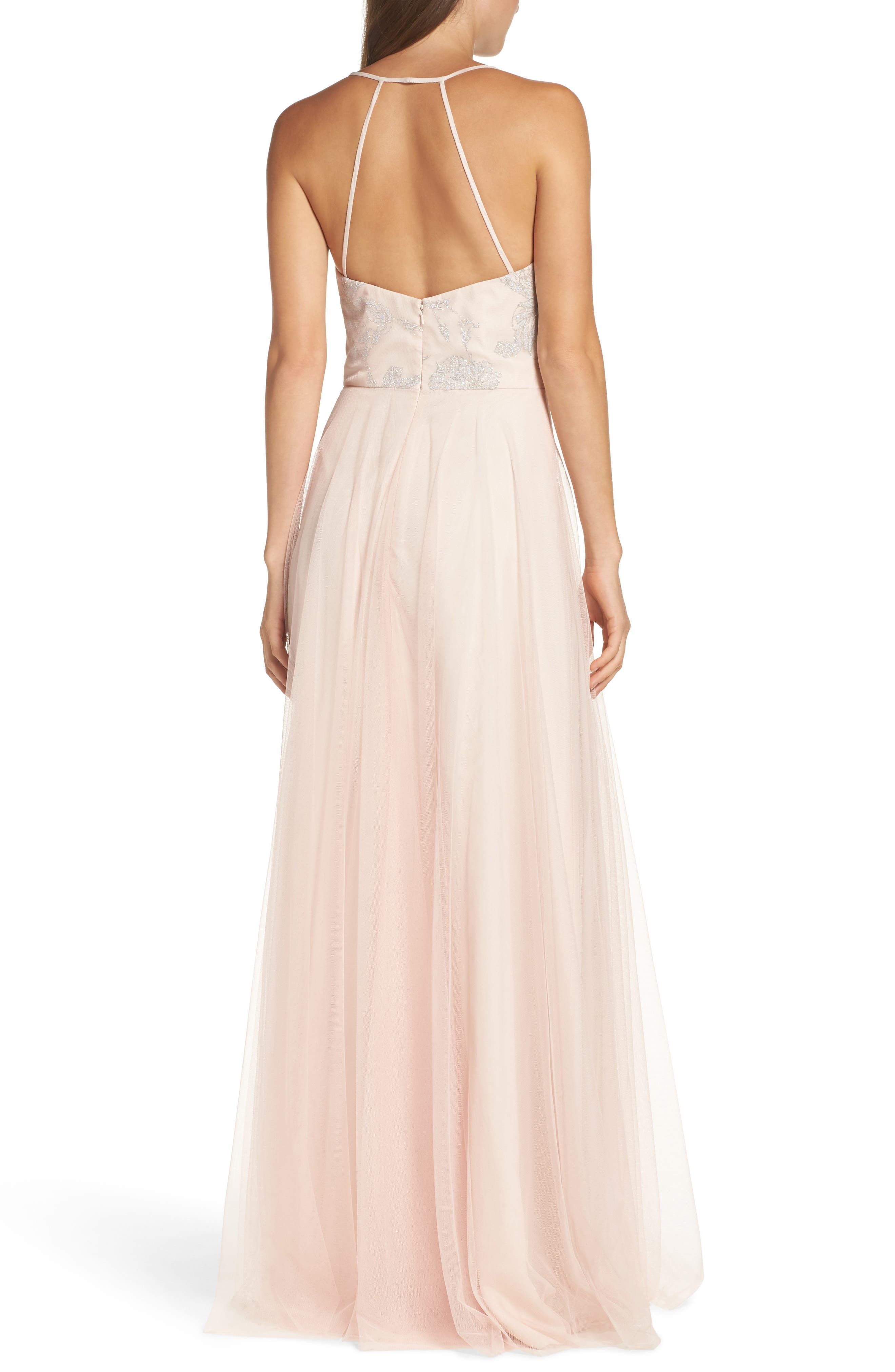 Alternate Image 2  - Hayley Paige Occasions Embellished Bodice Net Halter Gown
