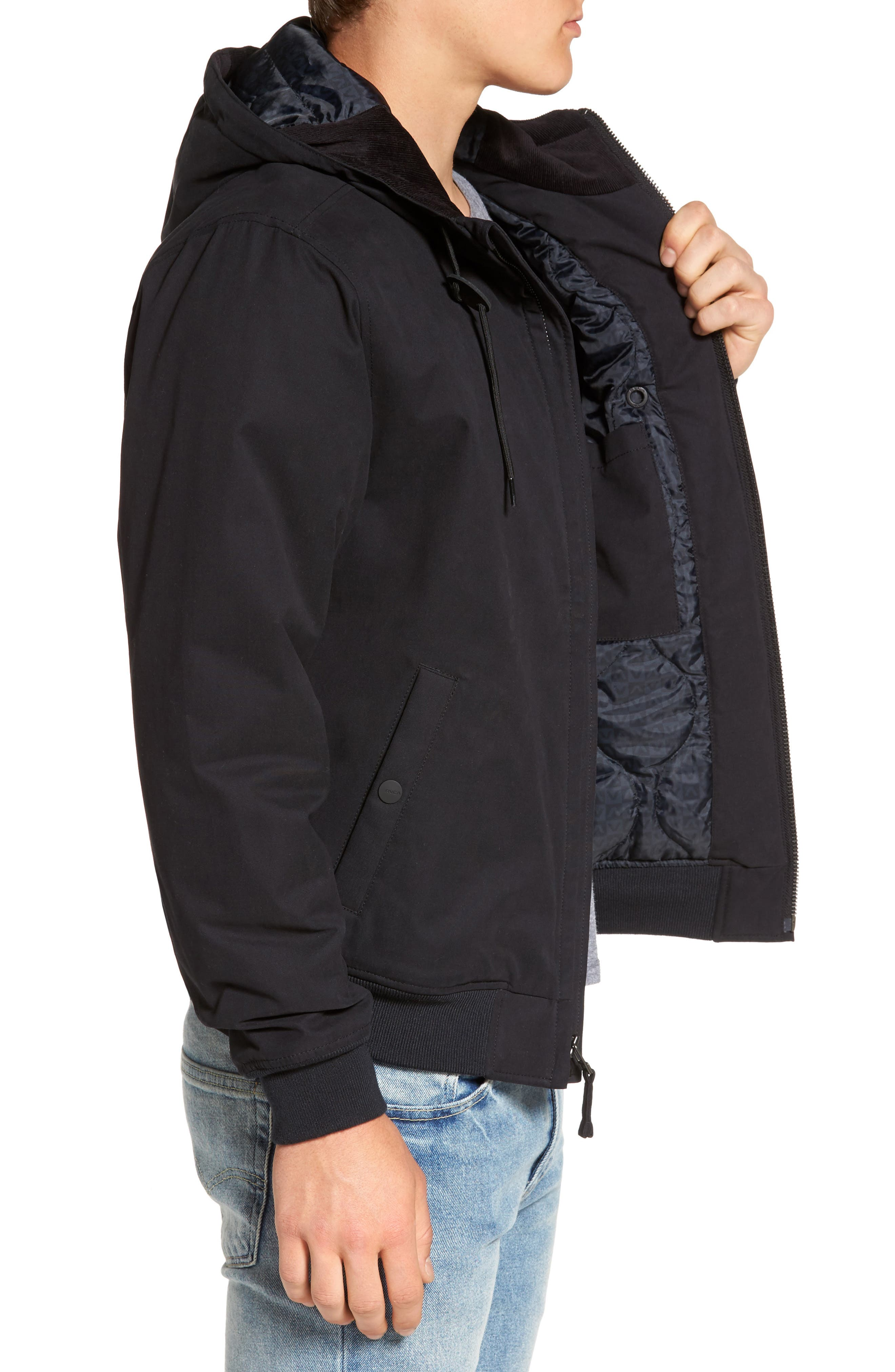 Hooded Bomber Jacket,                             Alternate thumbnail 3, color,                             Black