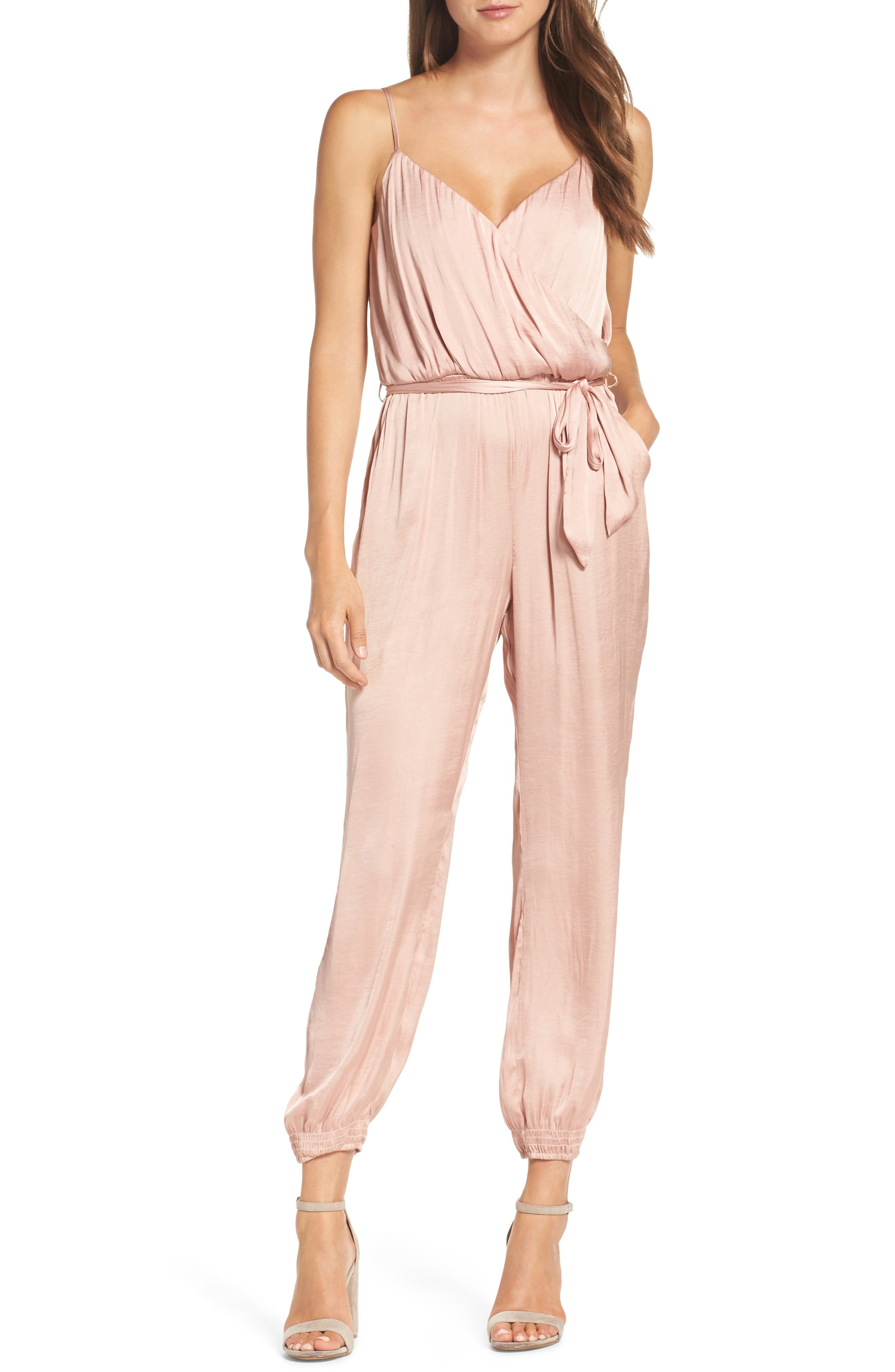 Paloma Satin Jumpsuit,                         Main,                         color, Rose