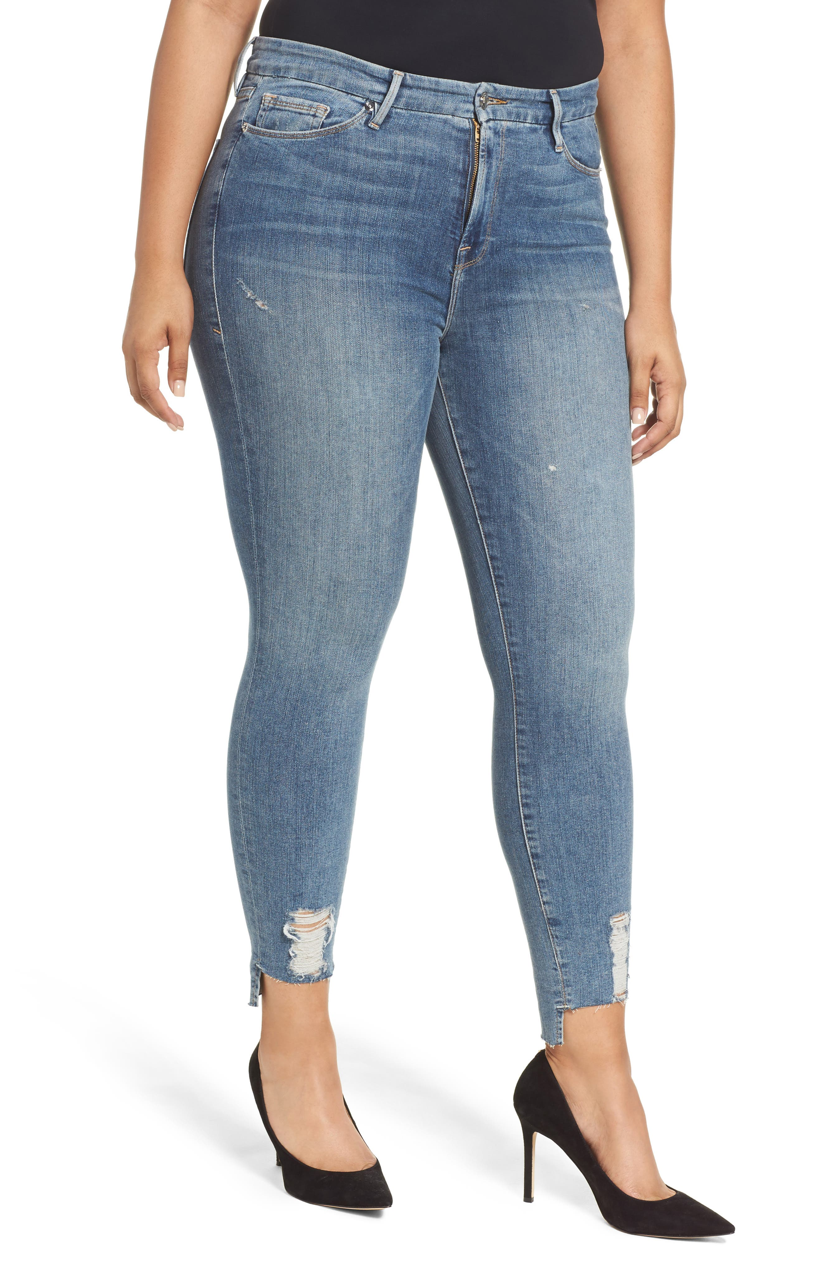 Alternate Image 7  - Good American Good Legs High Waist Skinny Jeans (Blue 082) (Extended Sizes)