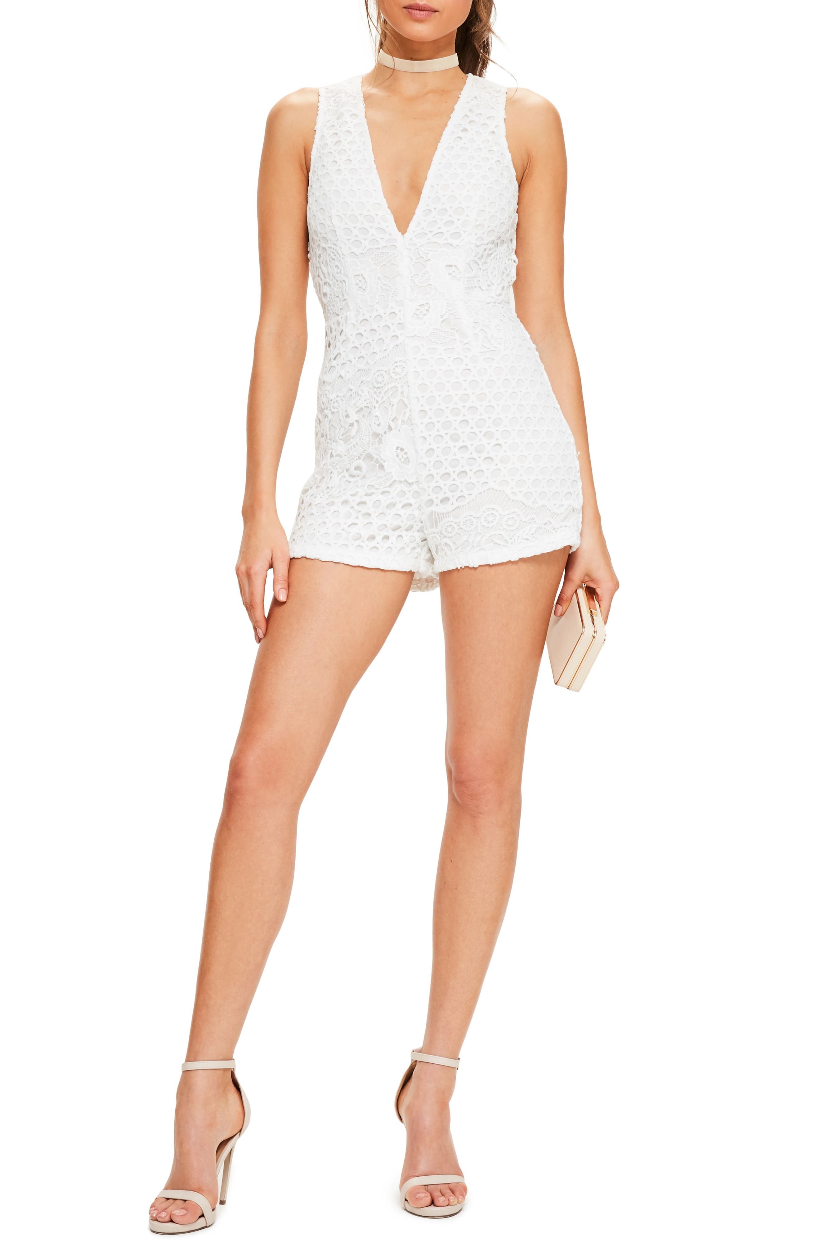 Sleeveless Crochet Romper,                         Main,                         color, White