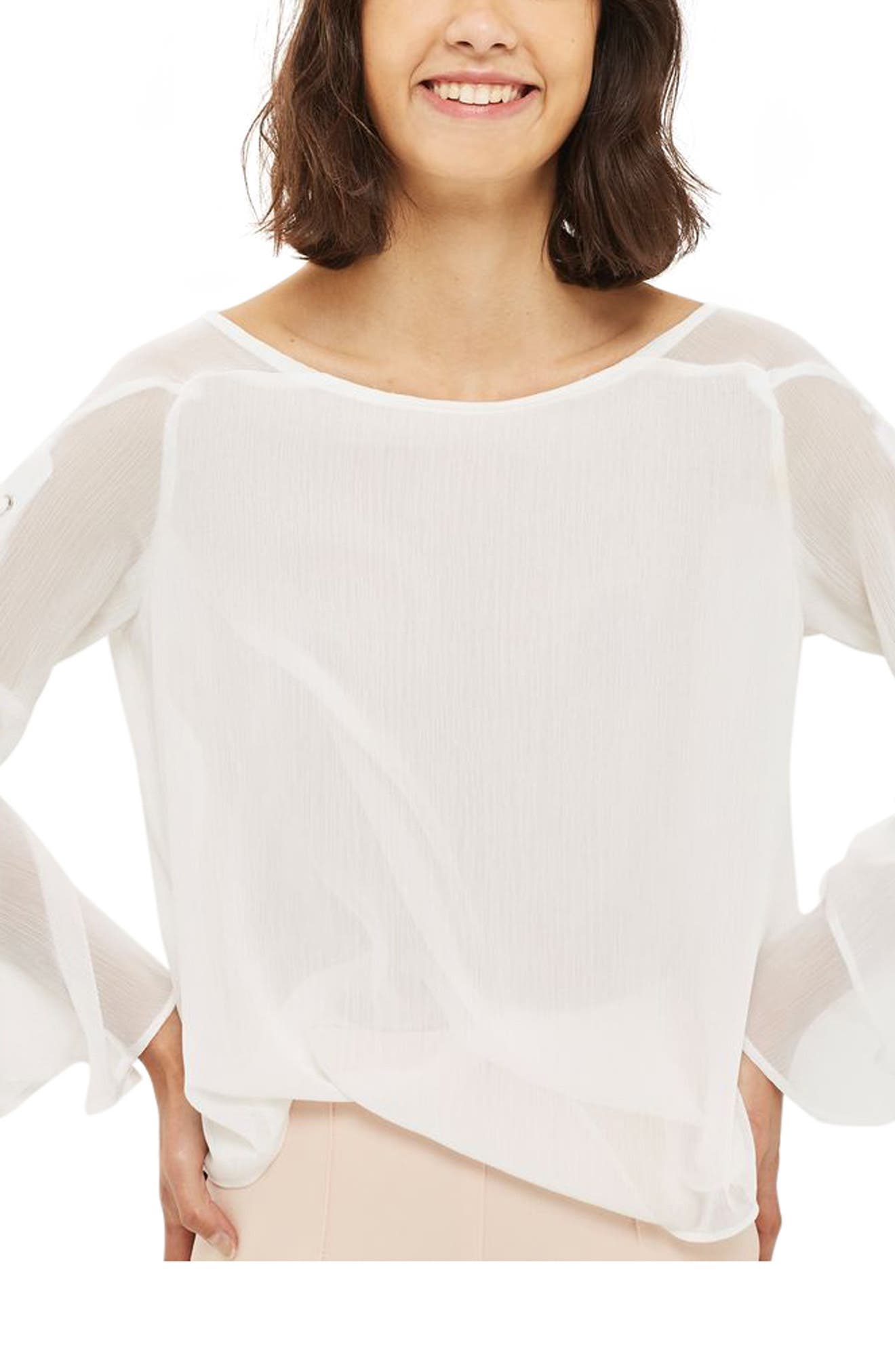 Topshop Lace-Up Bell Sleeve Top