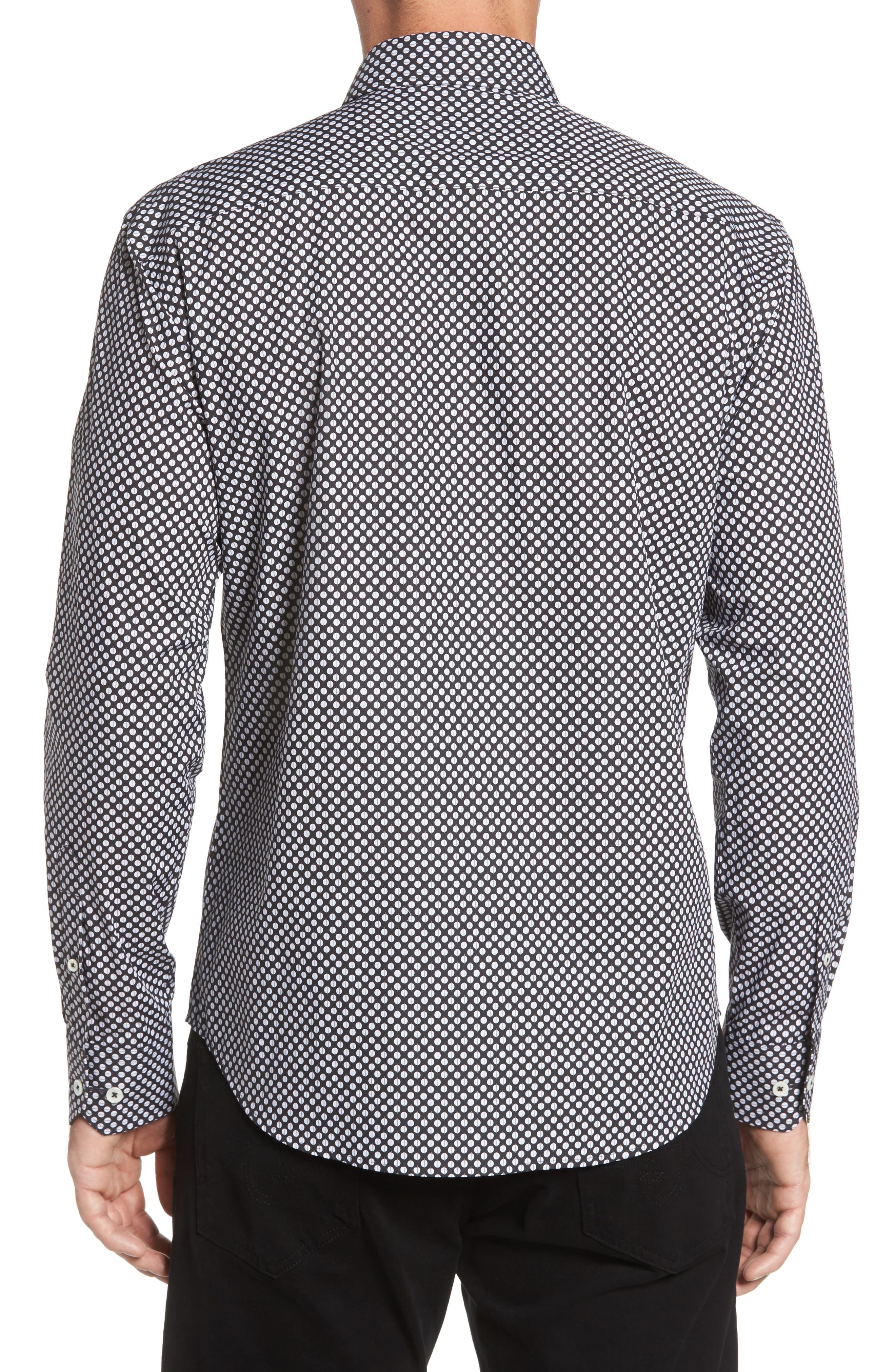 Shaped Fit Dot Print Sport Shirt,                             Alternate thumbnail 2, color,                             Black